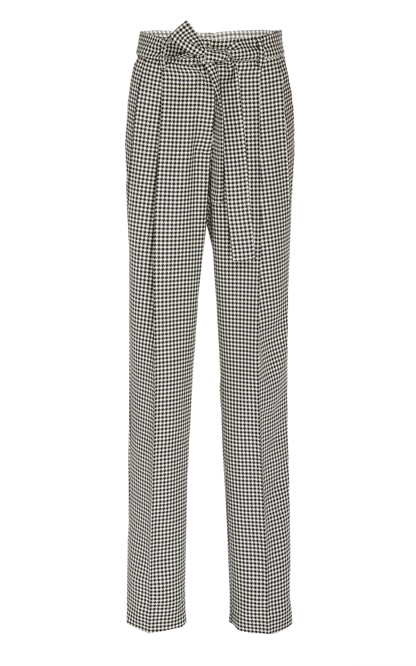 Prabal Gurung Pants SIMONE BELTED HOUNDSTOOTH WOOL TAPERED PANTS