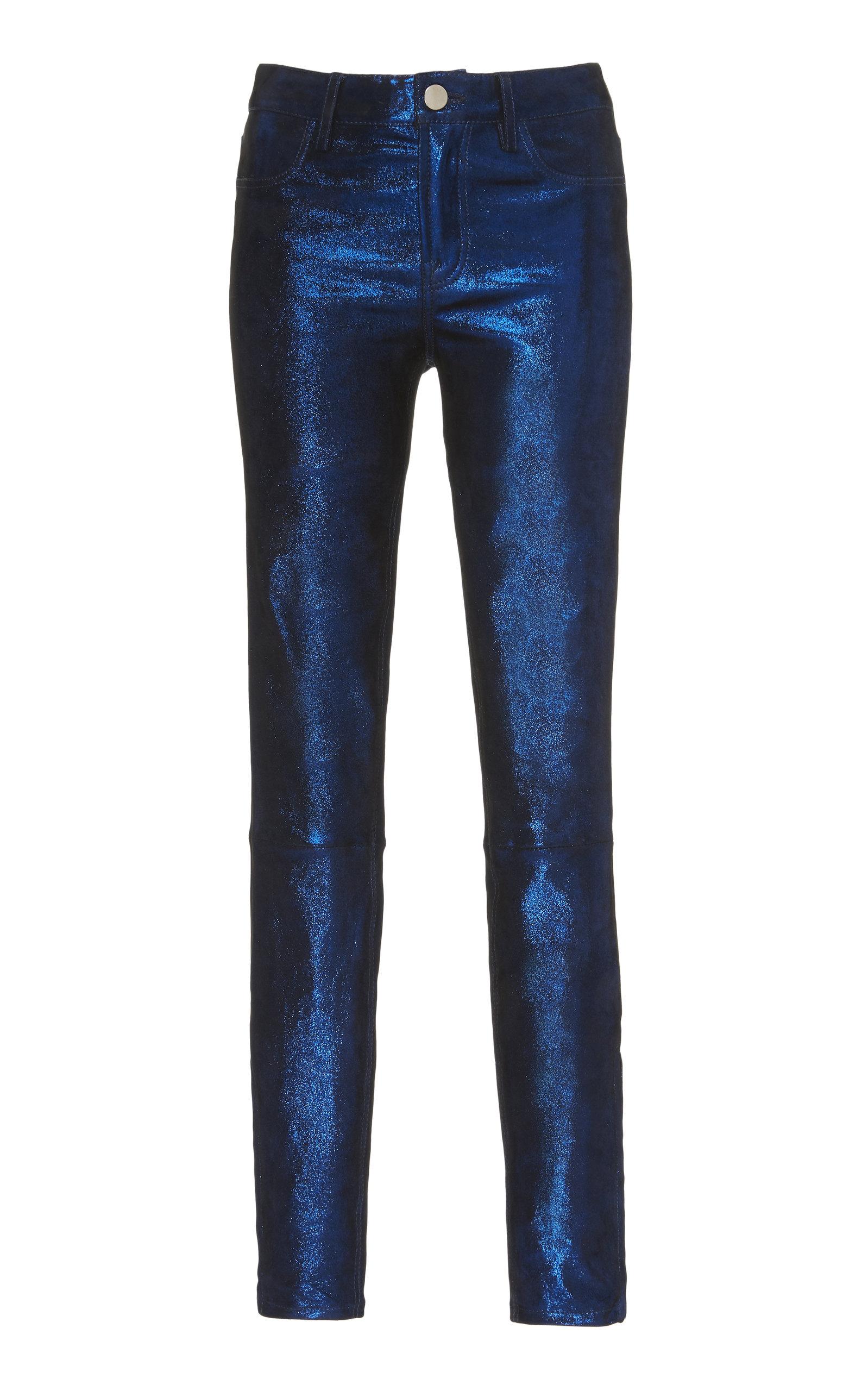 Nour Hammour Pants METALLIC LEATHER PANTS