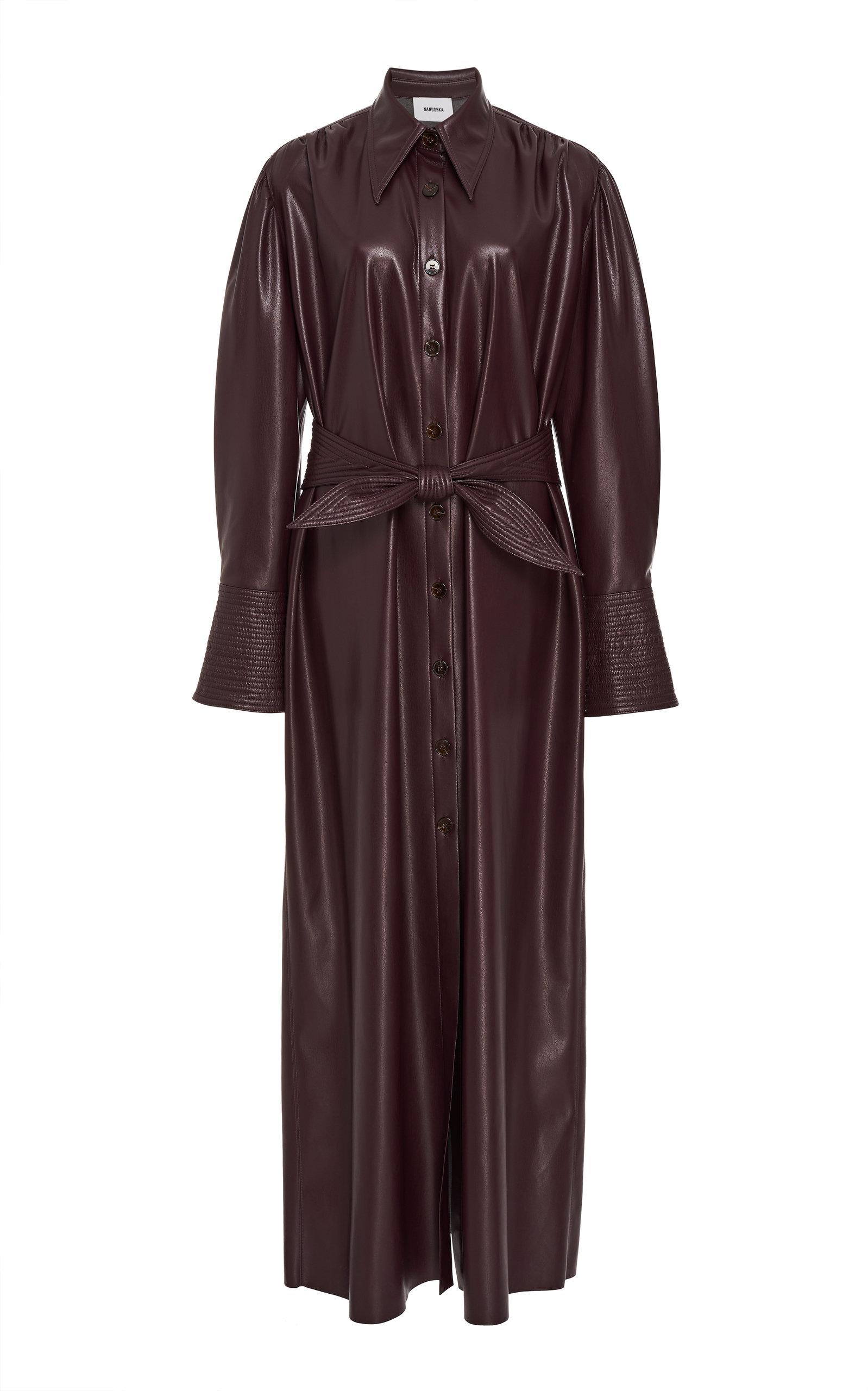 rosana-vegan-leather-button-front-dress by nanushka