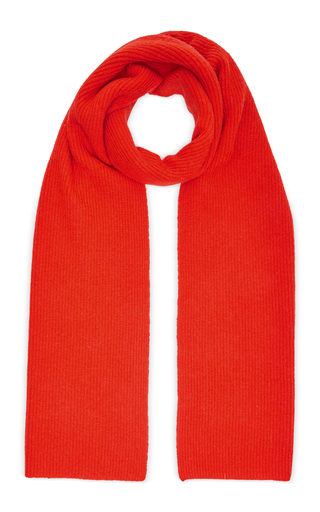 Ganni Ribbed Lambswool-blend Scarf In Red