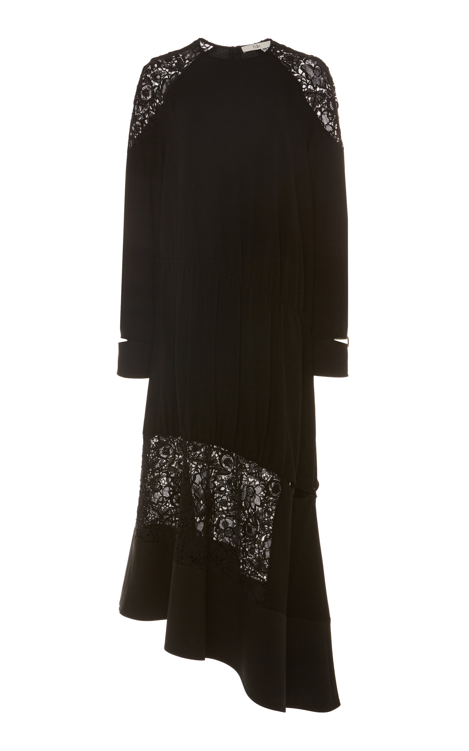Tibi Dresses Asymmetric Lace-Trimmed Crepe Dress