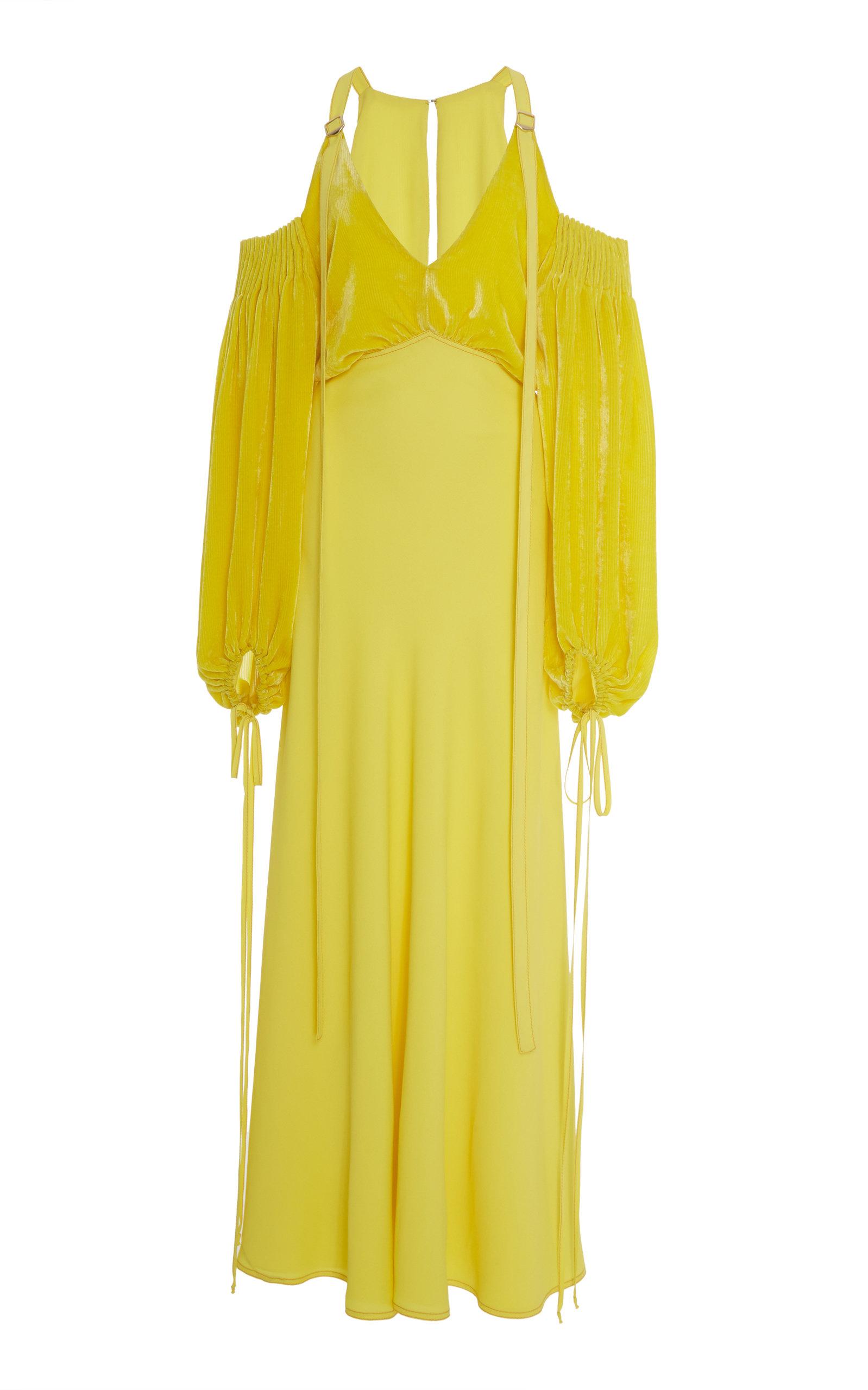 Sies Marjan CARTER COLD-SHOULDER SILK-COTTON DRESS
