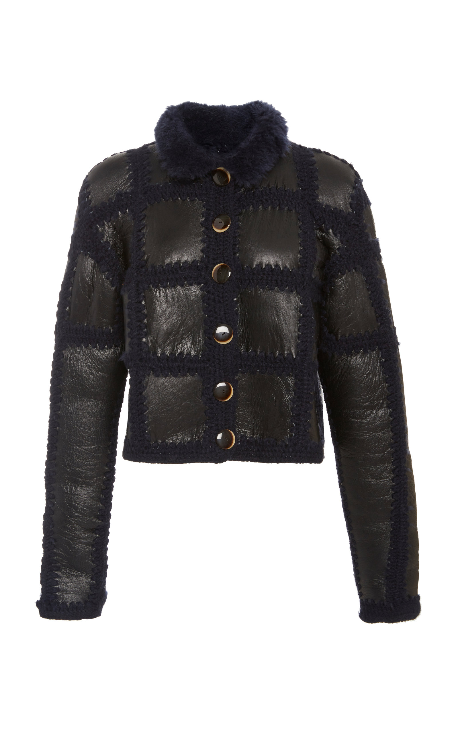 106e774baae4 Shop Ulla Johnson Elia Shearling Cropped Jacket In Navy