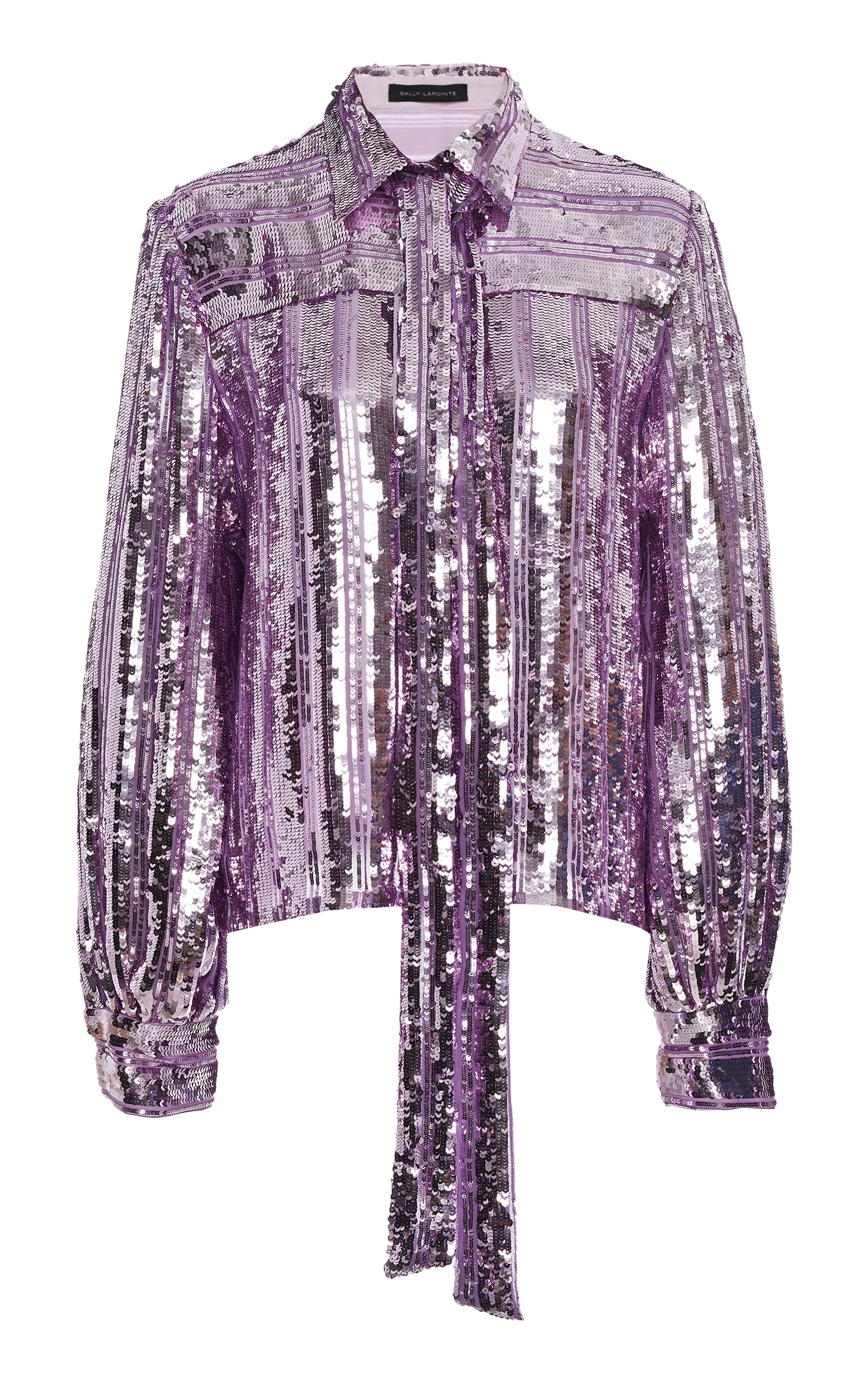 Sally Lapointe Tops STRIPED SCARF-DETAILED SEQUINED BLOUSE