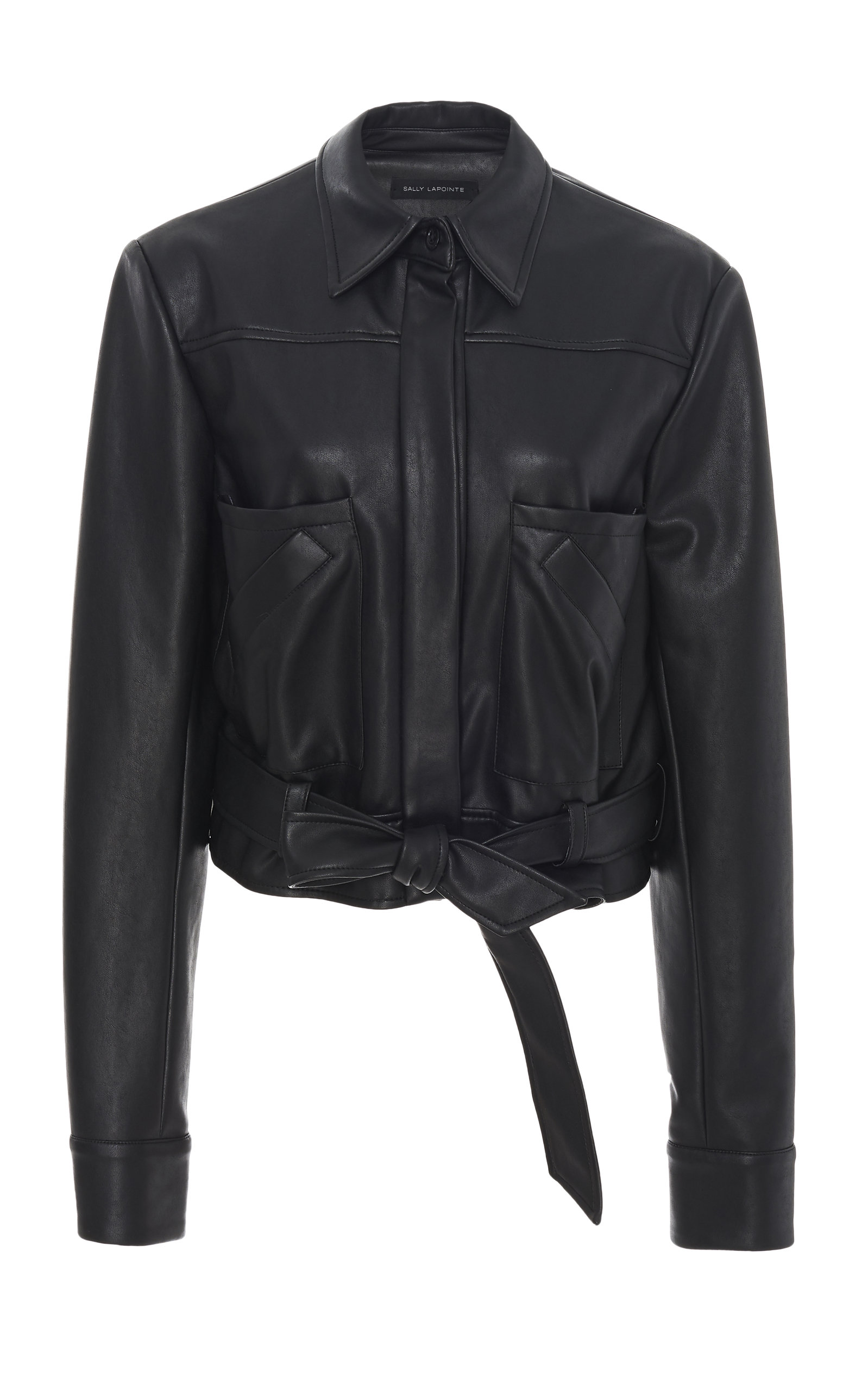 Sally Lapointe Tops BELTED FAUX LEATHER BLOUSE