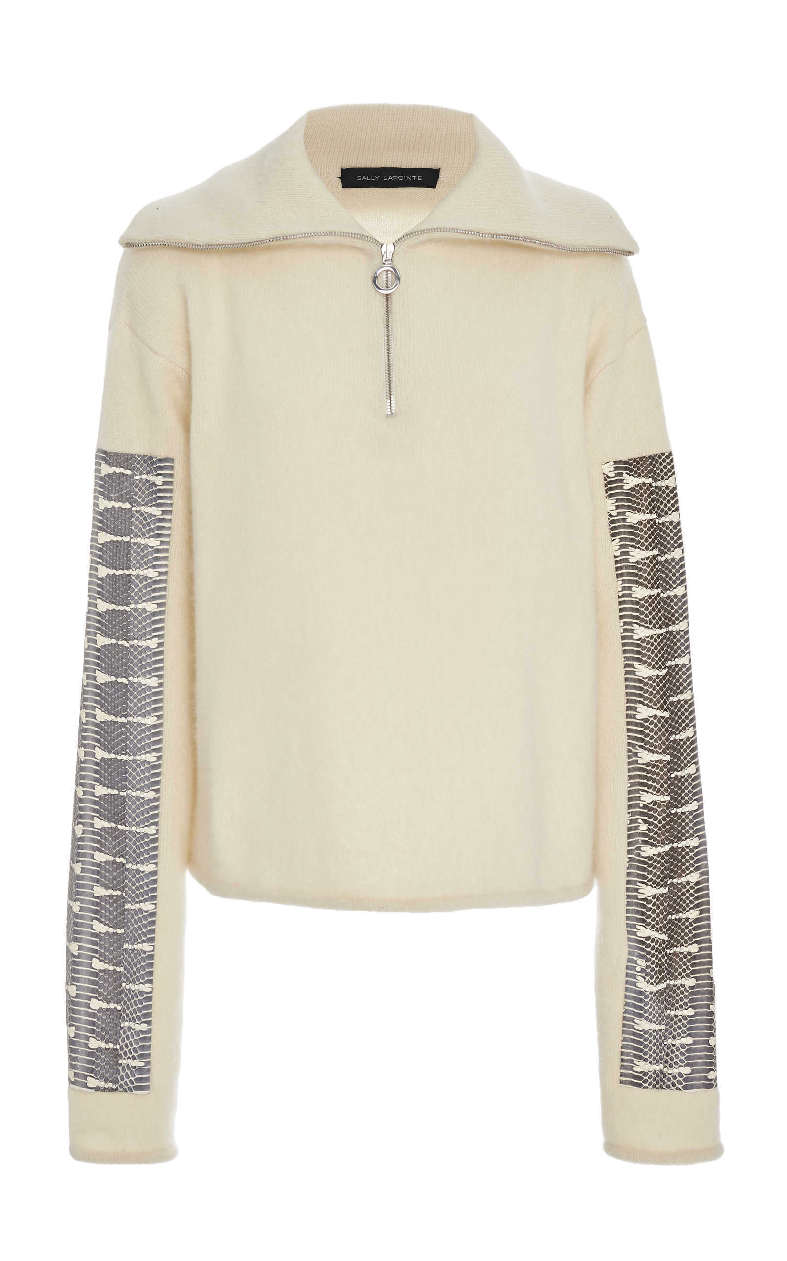 Sally Lapointe Sweaters SNAKE PRINT-ACCENTED SILK CASHMERE SWEATER