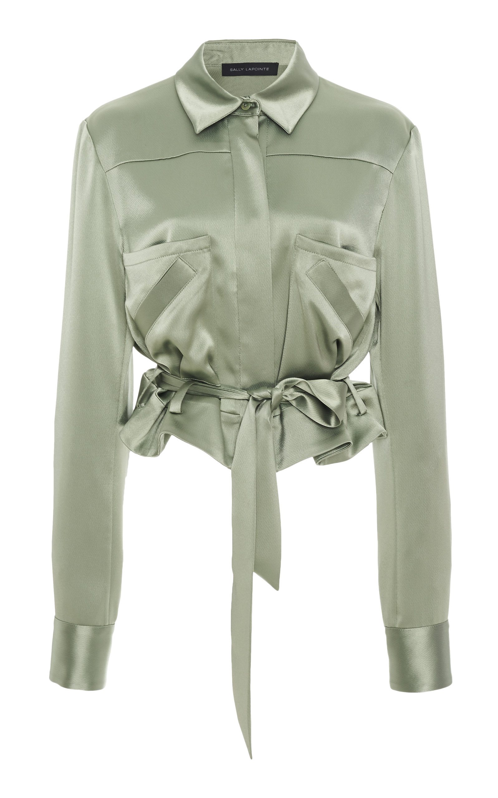 Sally Lapointe Tops CROPPED BELTED SATIN BLOUSE