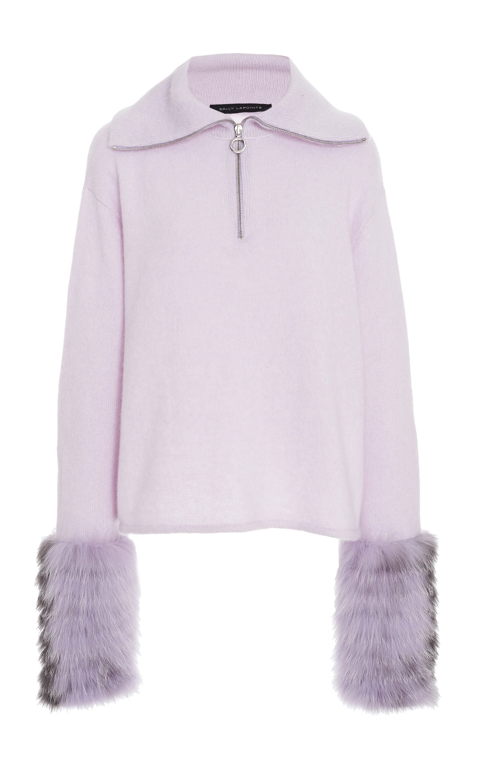 Sally Lapointe Sweaters FUR-TRIMMED SILK-CASHMERE SWEATER