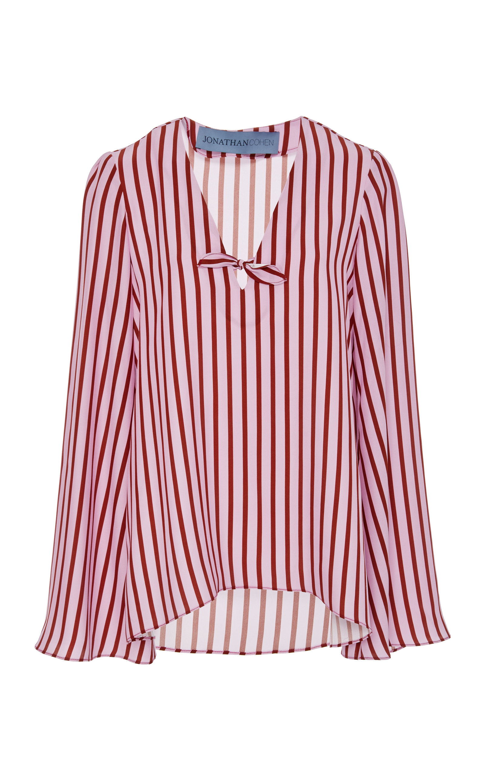 a4894464ad87a Jonathan Cohen Fluted Sleeve Silk Top In Stripe