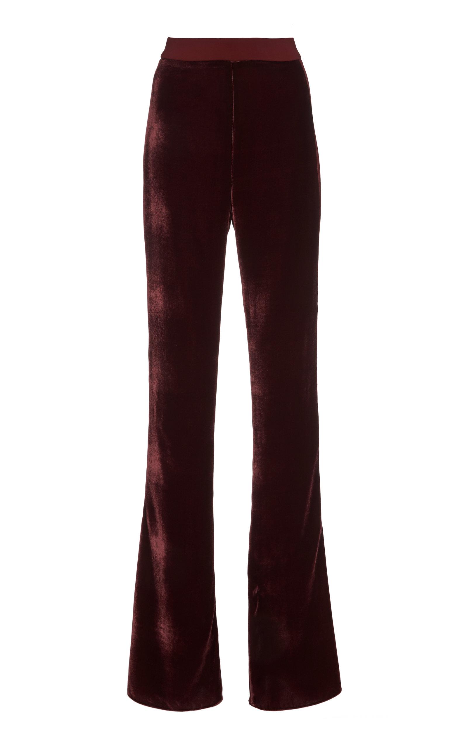 Cushnie Pants HIGH-RISE VELVET FLARED PANTS