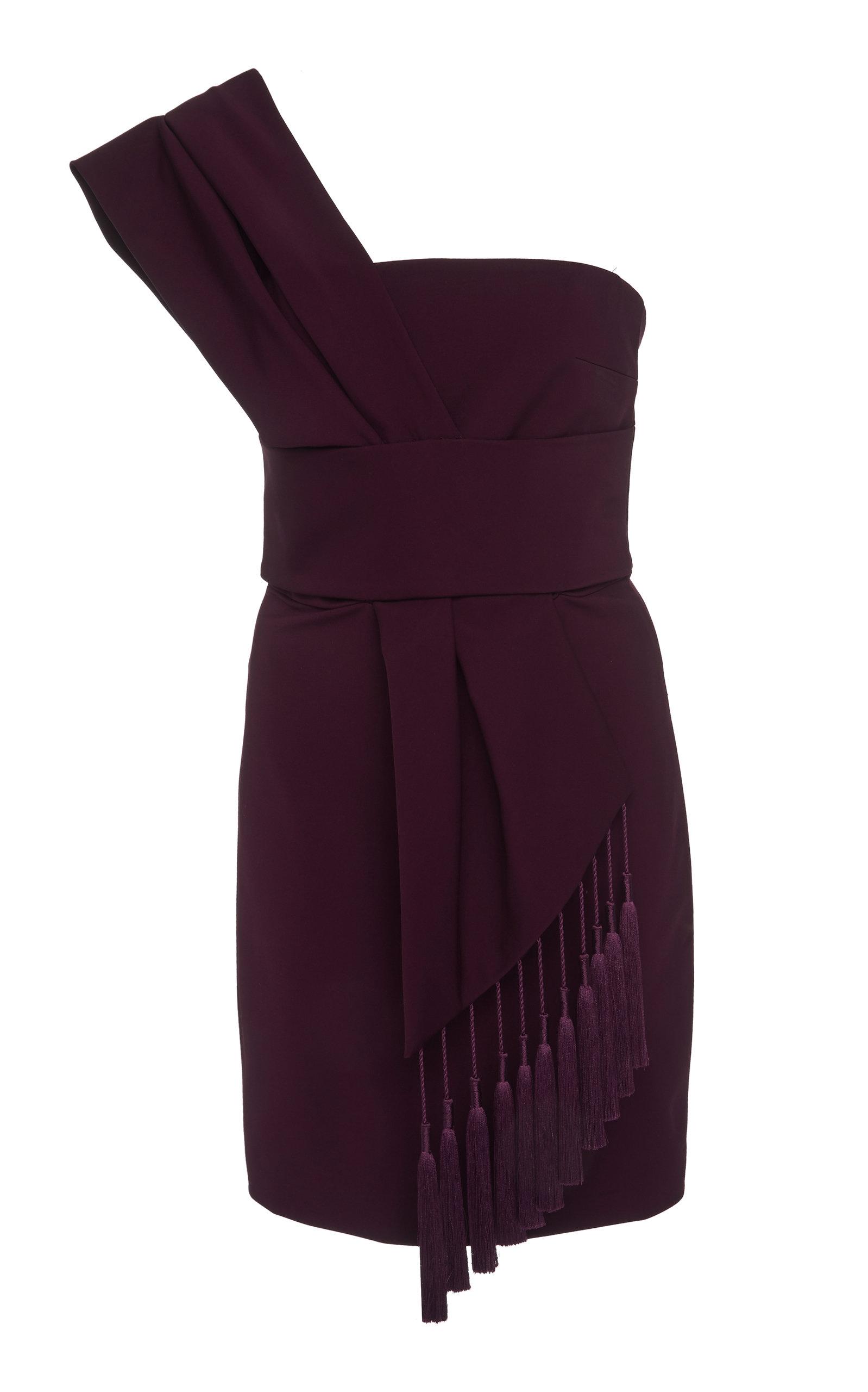 Cushnie Dresses TASSEL-EMBELLISHED SILK-BLEND MINI DRESS