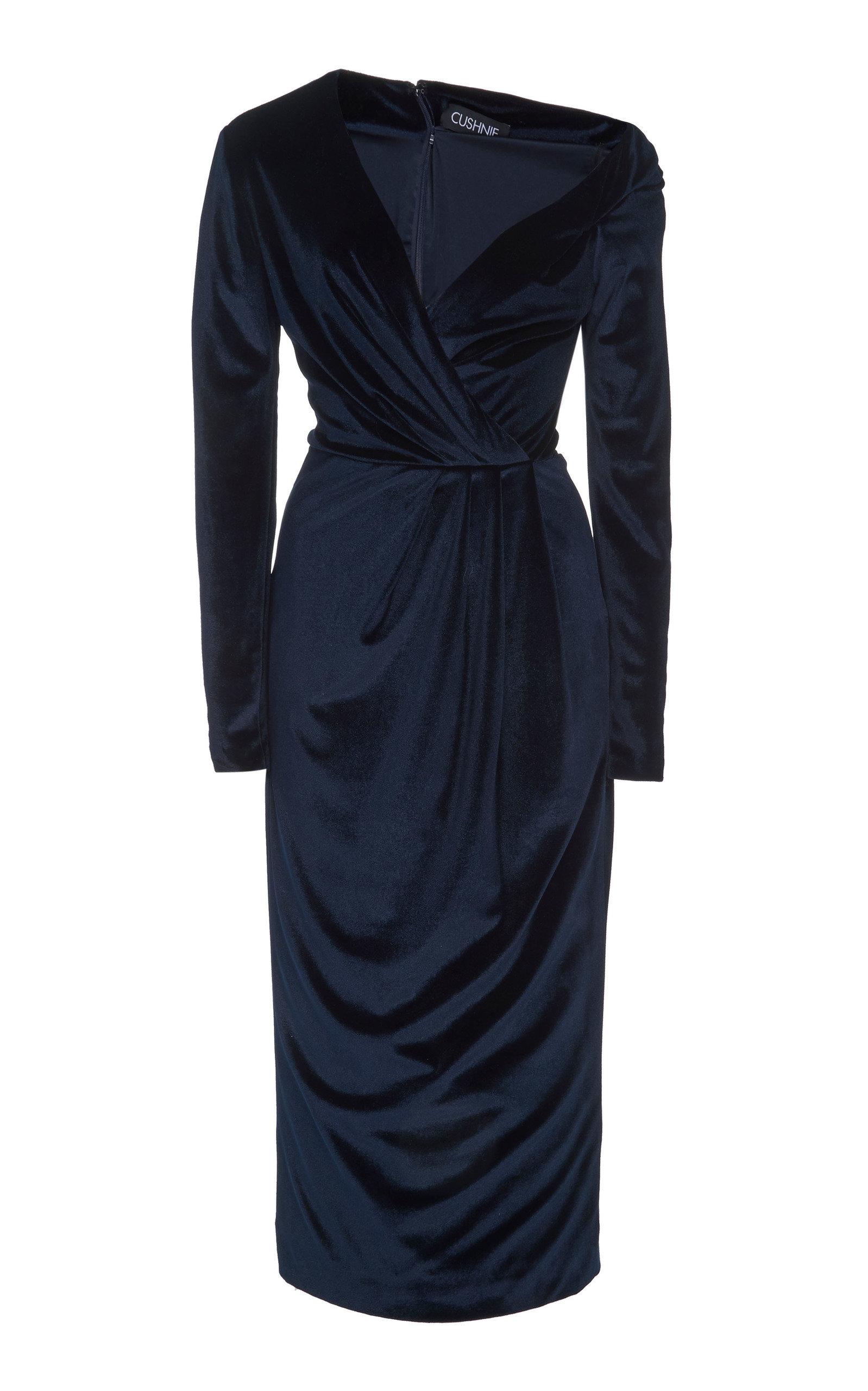 Cushnie Dresses DRAPED COLD-SHOULDER VELVET MIDI DRESS