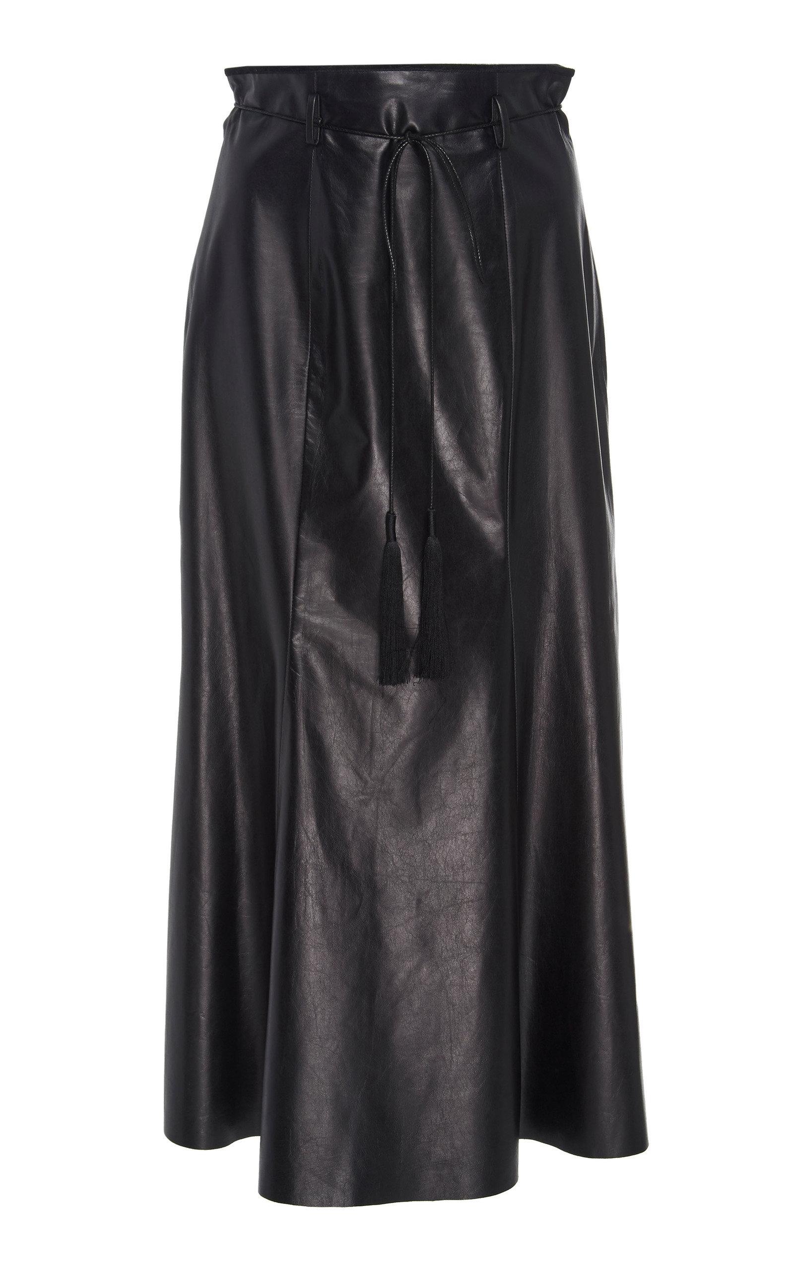 631f9a236 Black Leather High Waisted A Line Skirt   Saddha