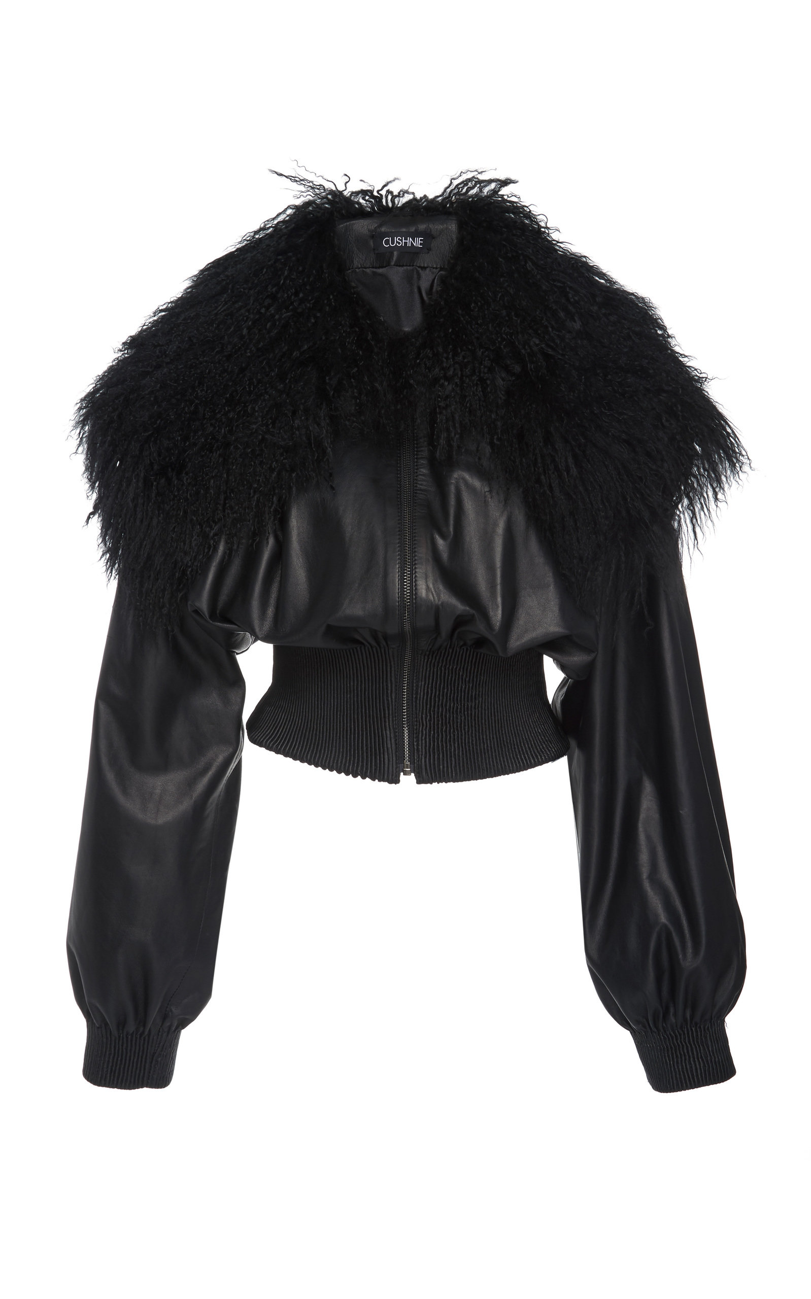 Cushnie Jackets SHEARLING-TRIMMED LEATHER BOMBER JACKET