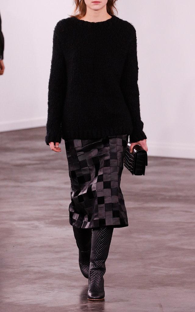 Gabriela Hearst Skirts Kiara Checkered Faux Leather And Silk-Velvet Midi Skirt