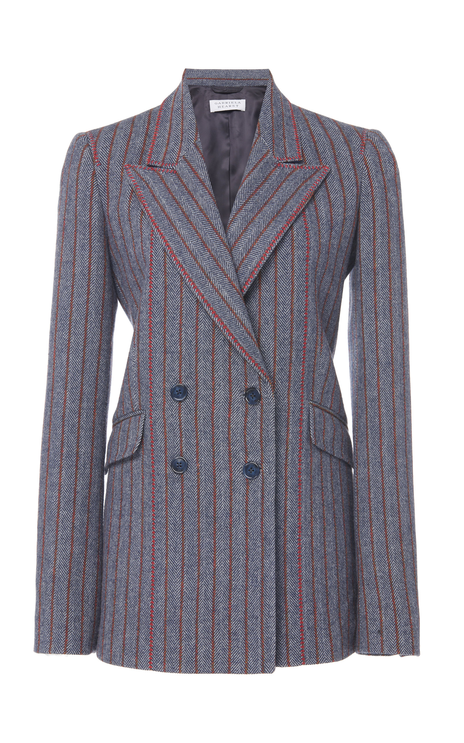 Gabriela Hearst Blazers Angela Herringbone Pinstripe Wool And Cashmere Blend Blazer