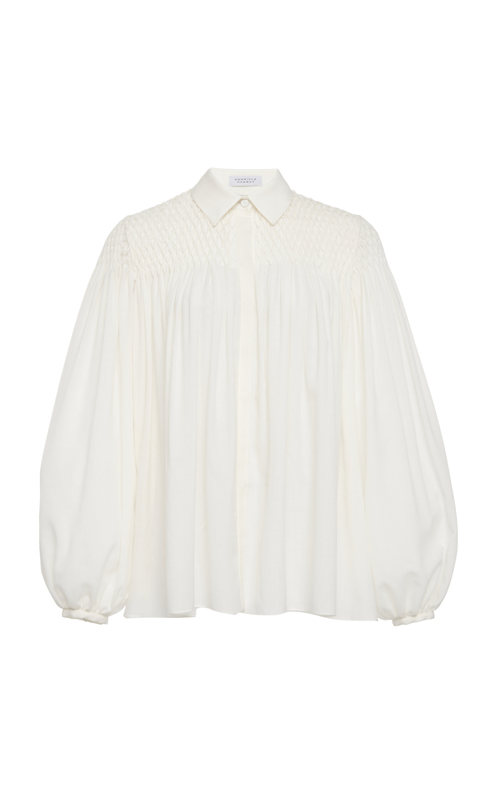 Gabriela Hearst Tops Carmen Wool And Cashmere Smocked Blouse