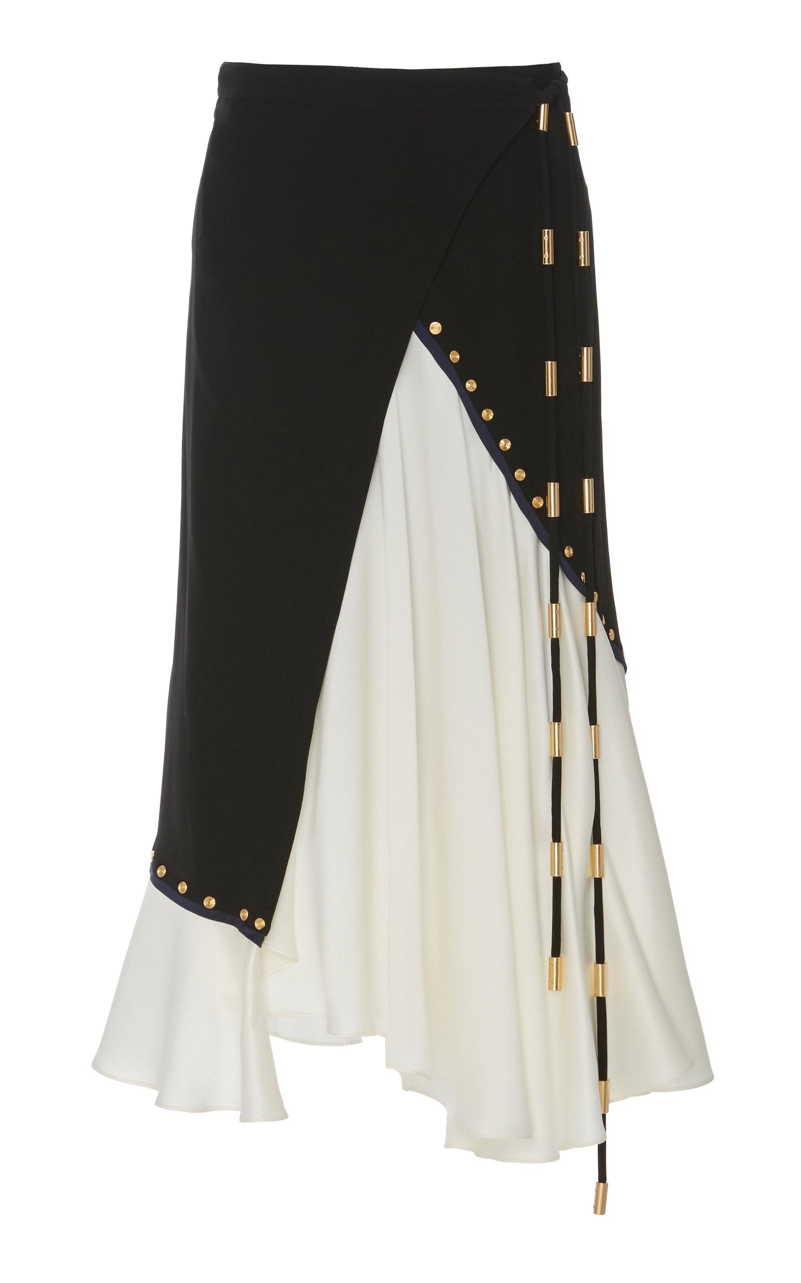 1215737e5 Two-Tone Wrap-Effect Crepe Midi Skirt by Tory Burch | Moda Operandi