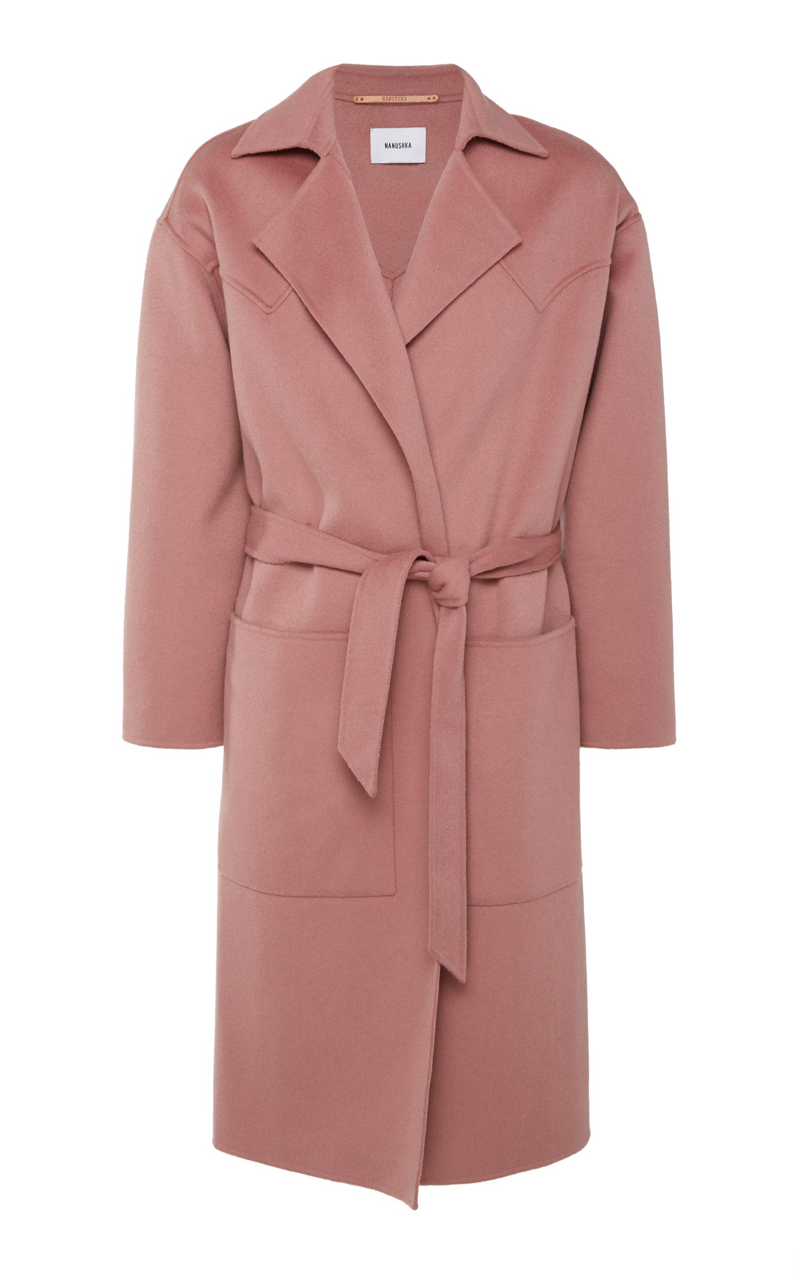 Nanushka Coats Timo Belted Wool-Blend Coat