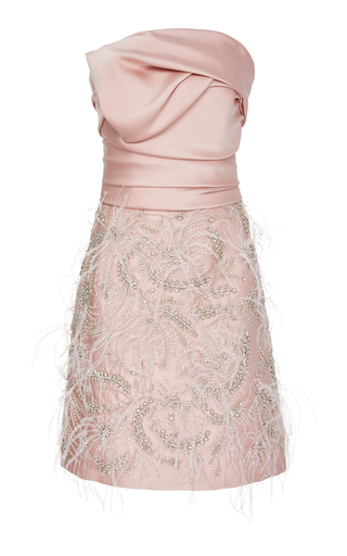 Marchesa DRAPED FEATHER-DETAILED STRAPLESS SATIN DRESS