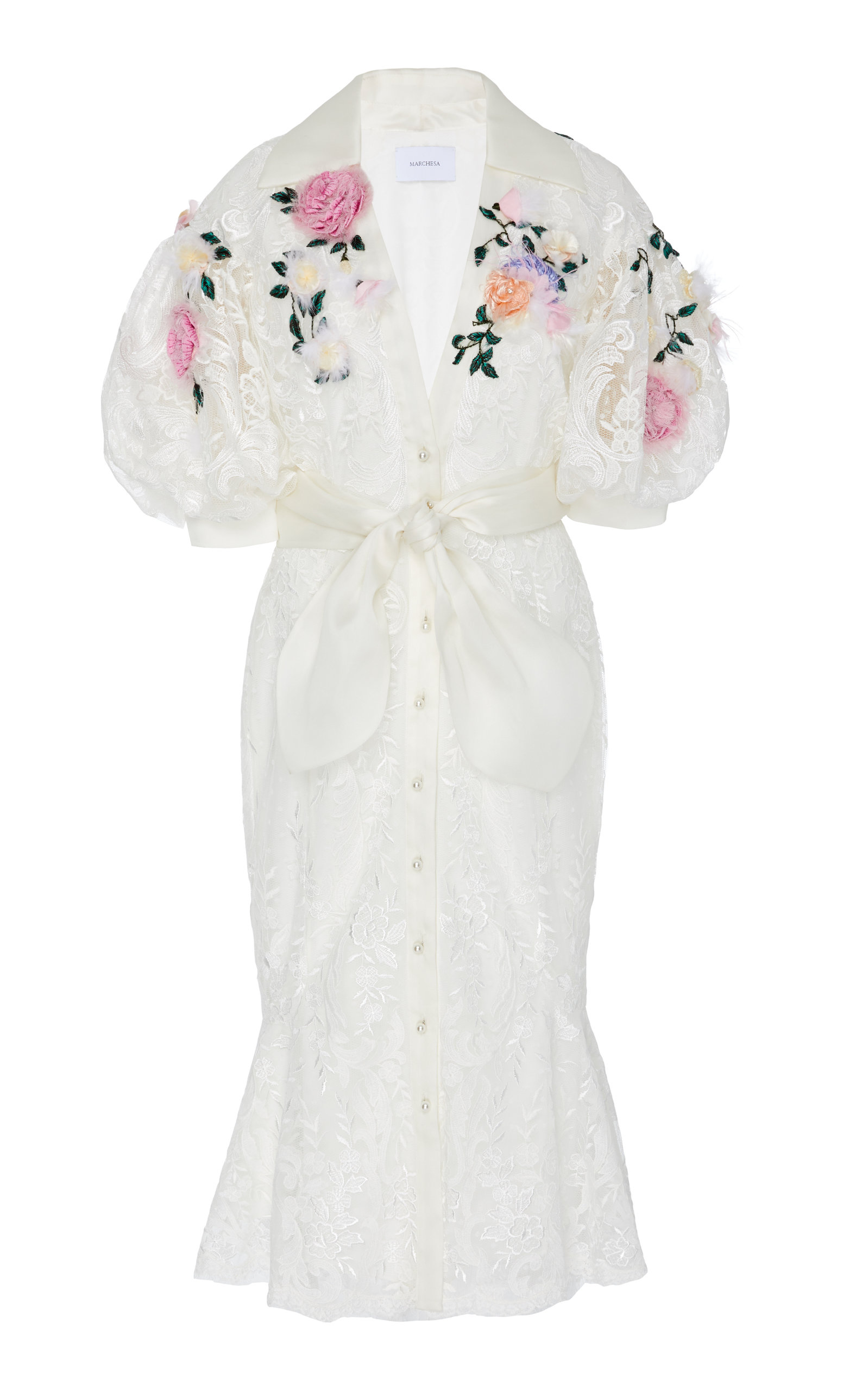 Flower Embroidered Guipure Lace Dress by Marchesa