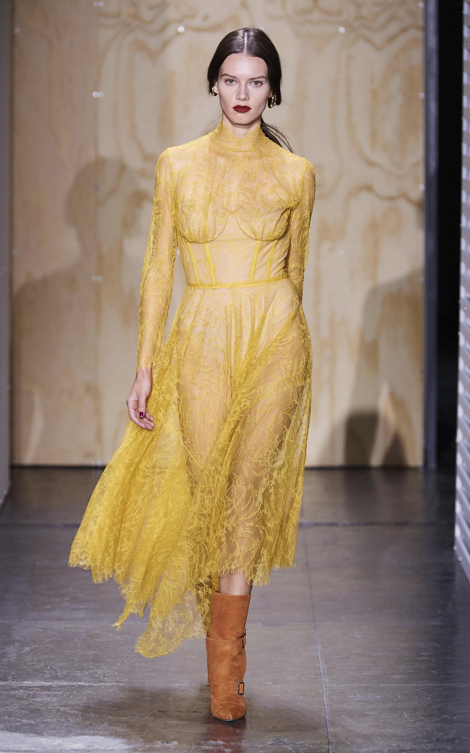 0daf6b13a3d8 Sheer Chantilly Lace Bustier Midi Dress by Jonathan Simkhai | Moda ...