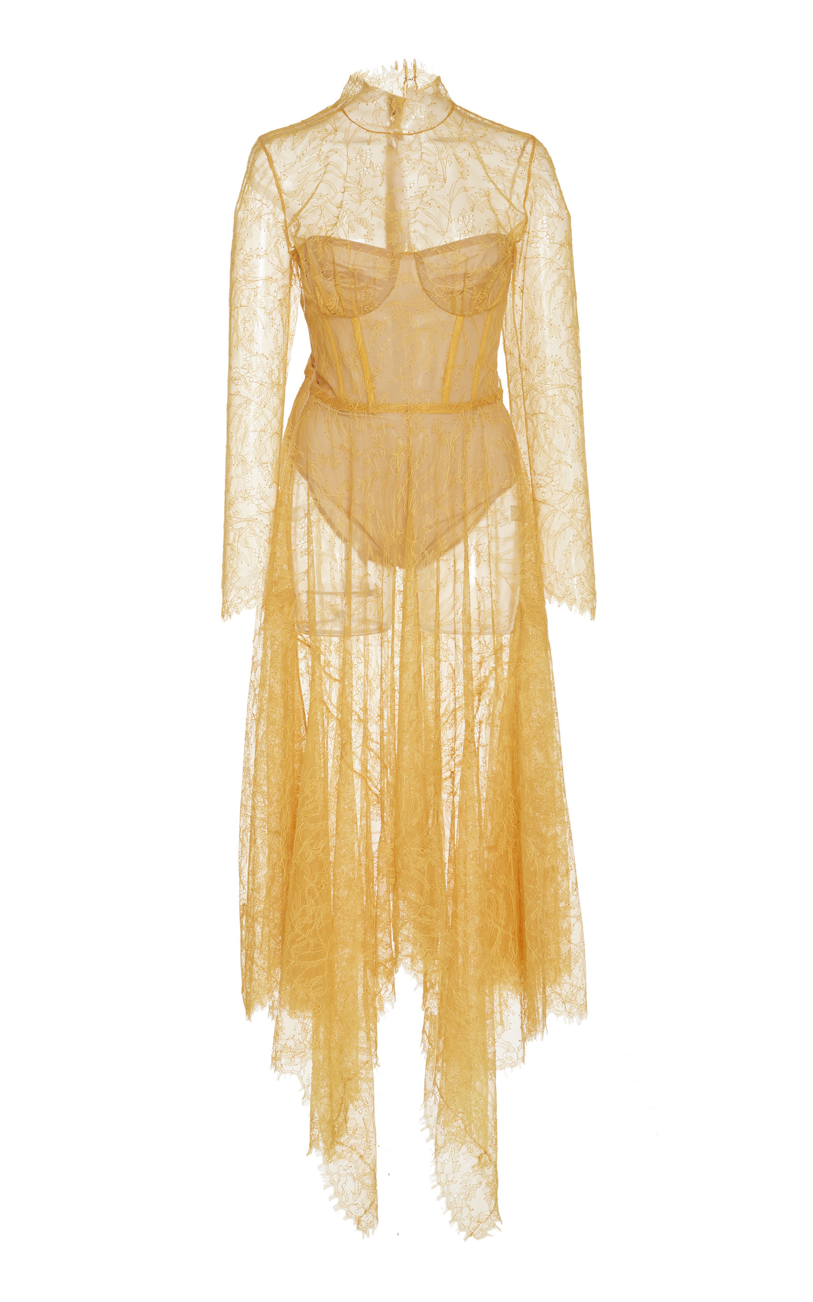 d04aef269ac1 Jonathan SimkhaiSheer Chantilly Lace Bustier Midi Dress. CLOSE. Loading