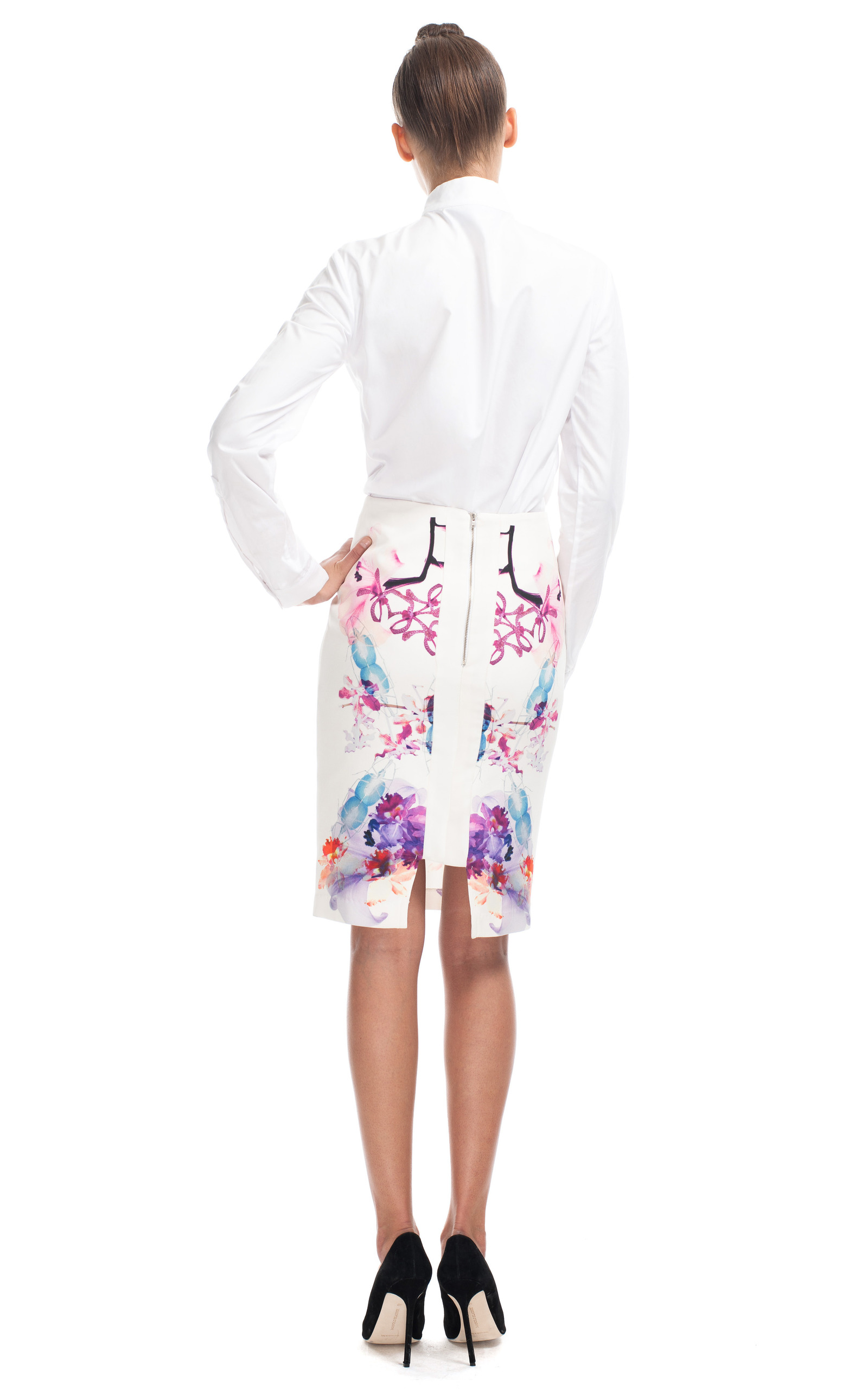 white print pencil skirt by michael lo sordo moda operandi