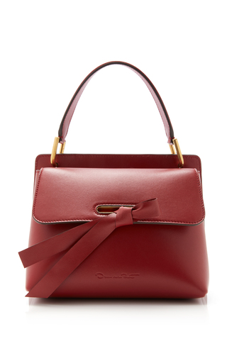 OSCAR DE LA RENTA | Oscar de la Renta Caveat Leather Top Handle Bag | Goxip