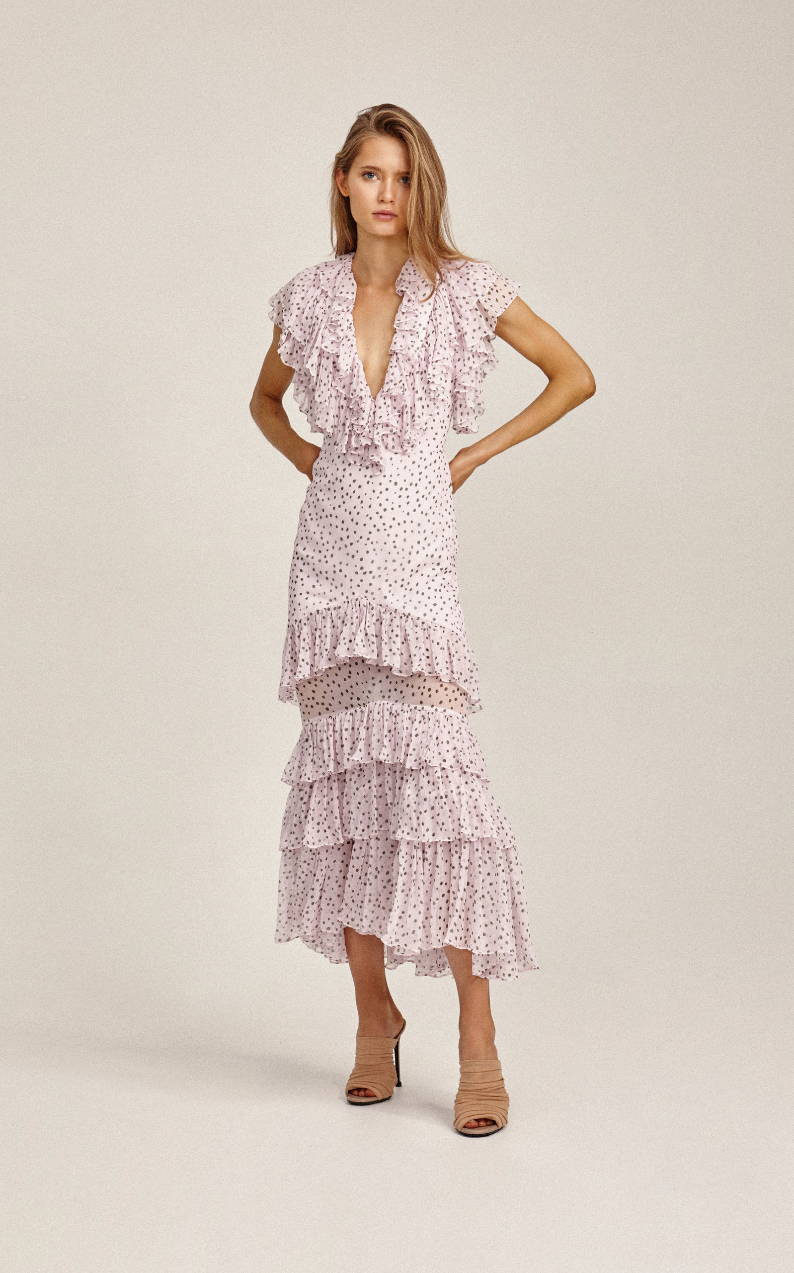 1d9ebf1bf1 Wendall Tier-Ruffle Dotted Midi Dress by Acler | Moda Operandi