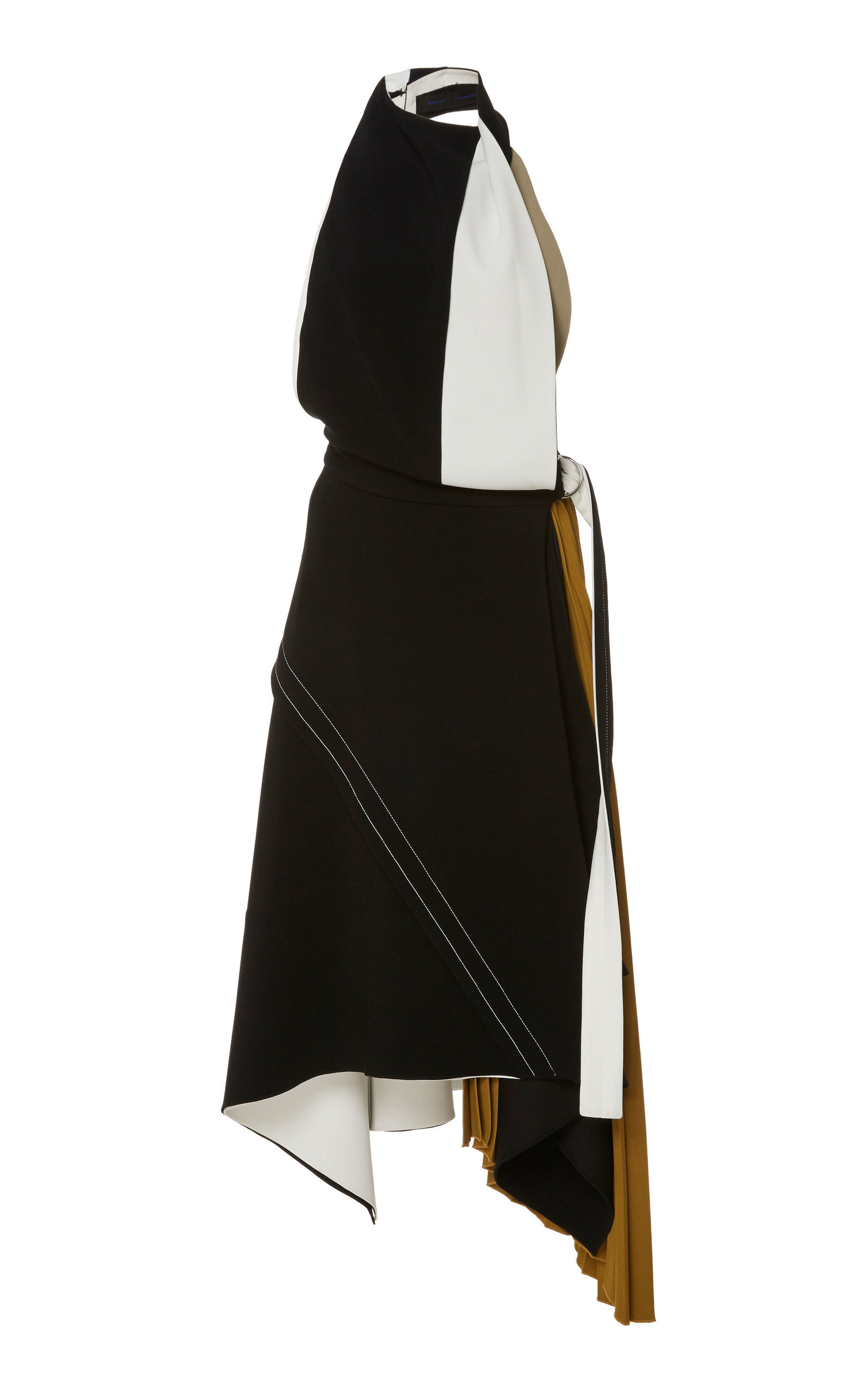 Asymmetric Color Block Crepe Midi Dress by Proenza Schouler