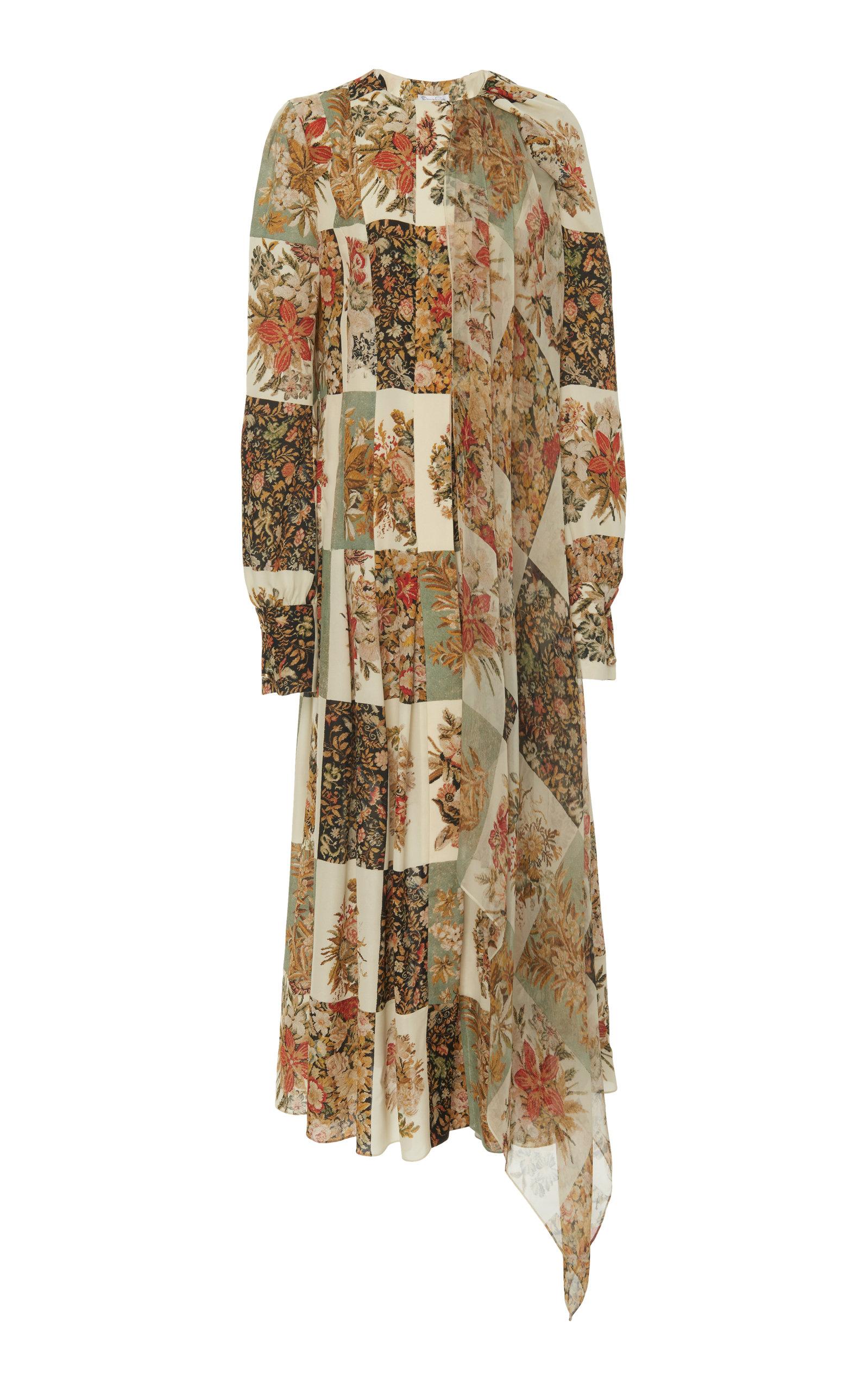 60824cf05c69b Floral-Print Silk-Chiffon Dress by Oscar de la Renta