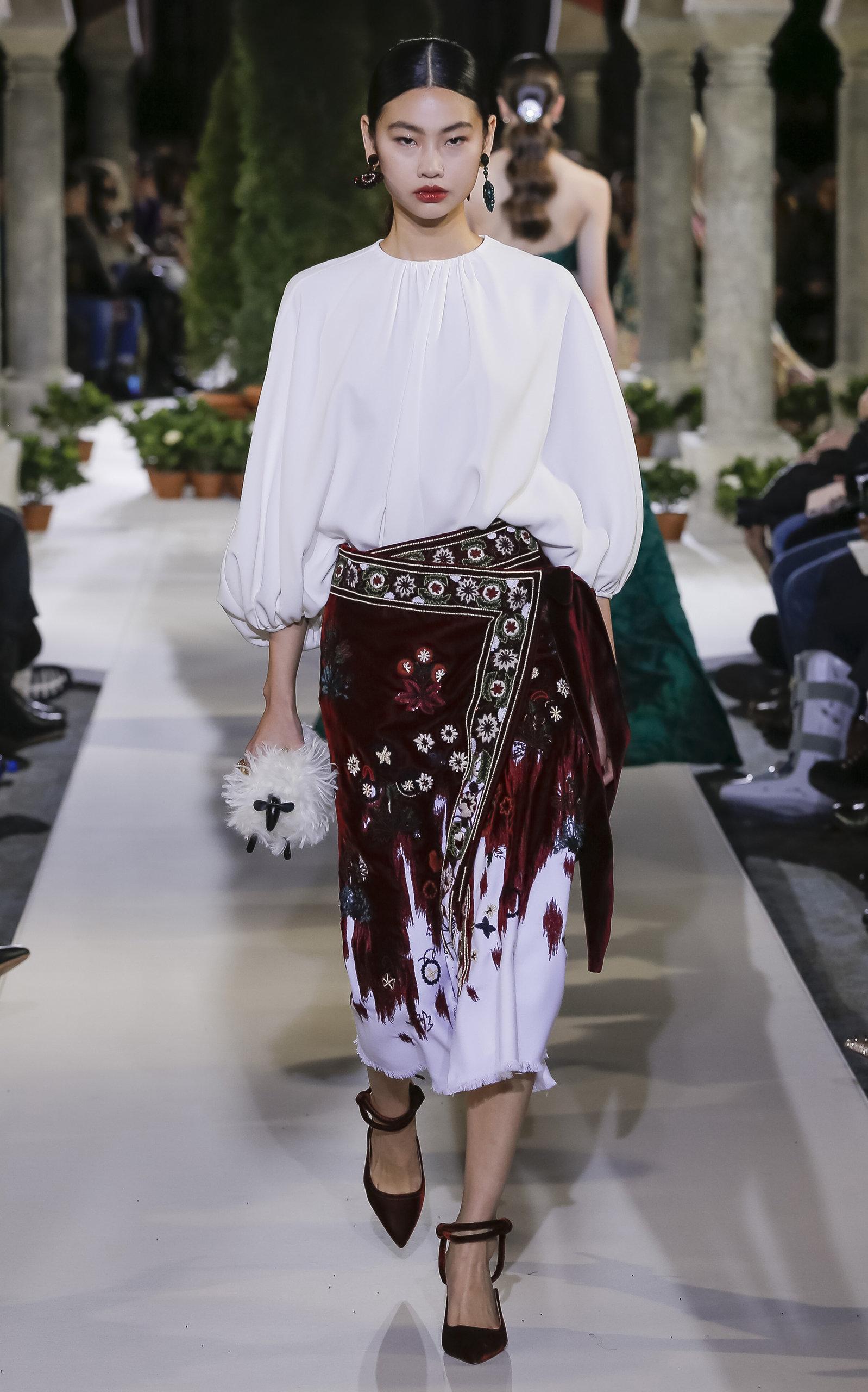 8d730cffe Wrap-Effect Embroidered Wool-Velvet Midi Skirt by Oscar de la Renta ...