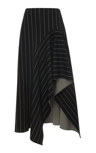 OSCAR DE LA RENTA | Oscar de la Renta Asymmetrical Pinstripe Midi Skirt | Goxip