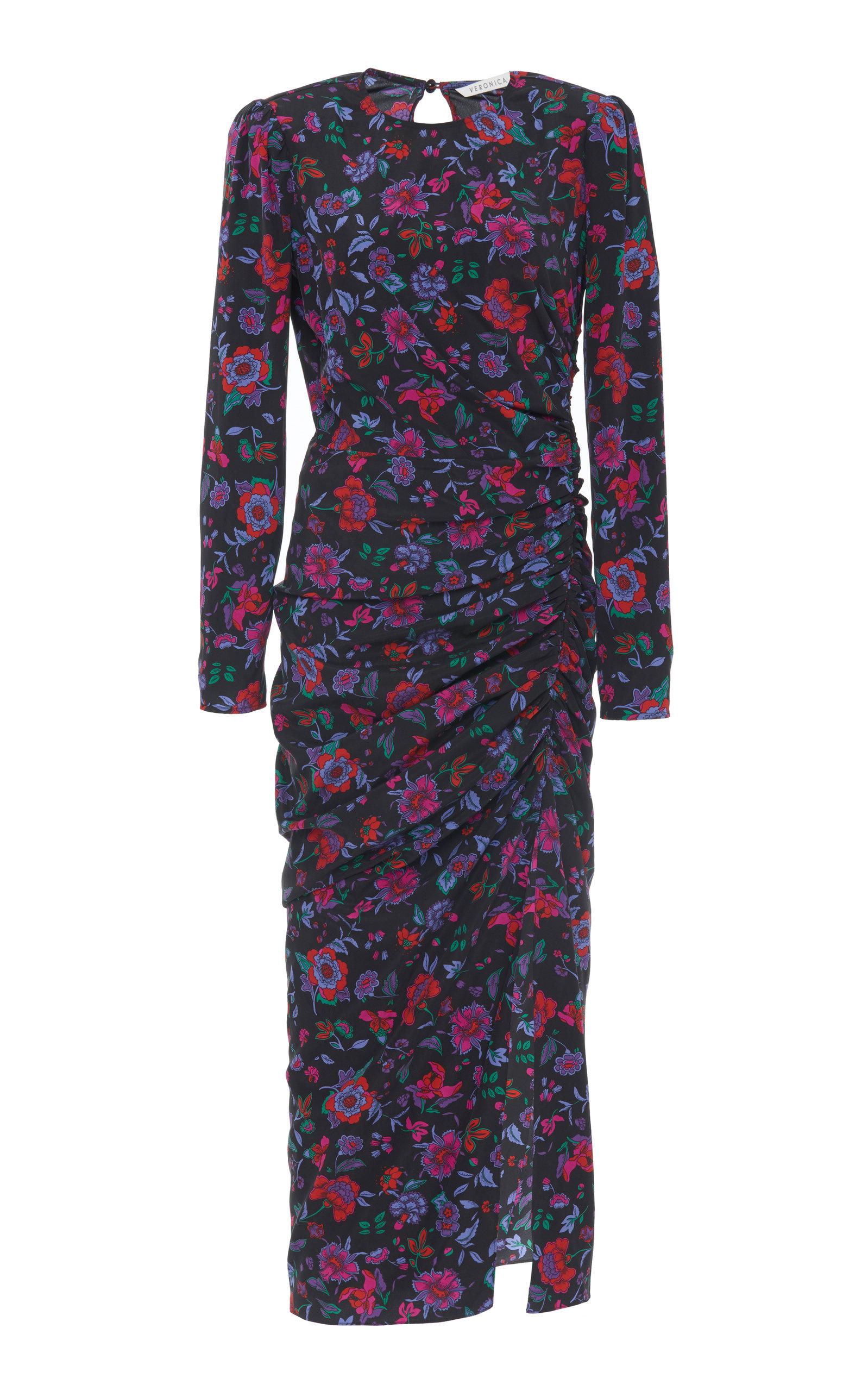 317e7827c Veronica BeardSelena Ruched Floral-Print Silk-Blend Midi Dress. CLOSE.  Loading