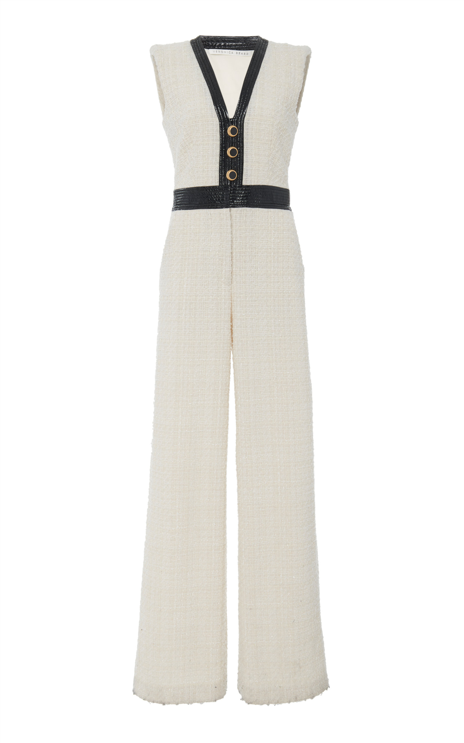 Veronica Beard Suits Emmeline Leather-Trimmed Tweed Wide-Leg Jumpsuit