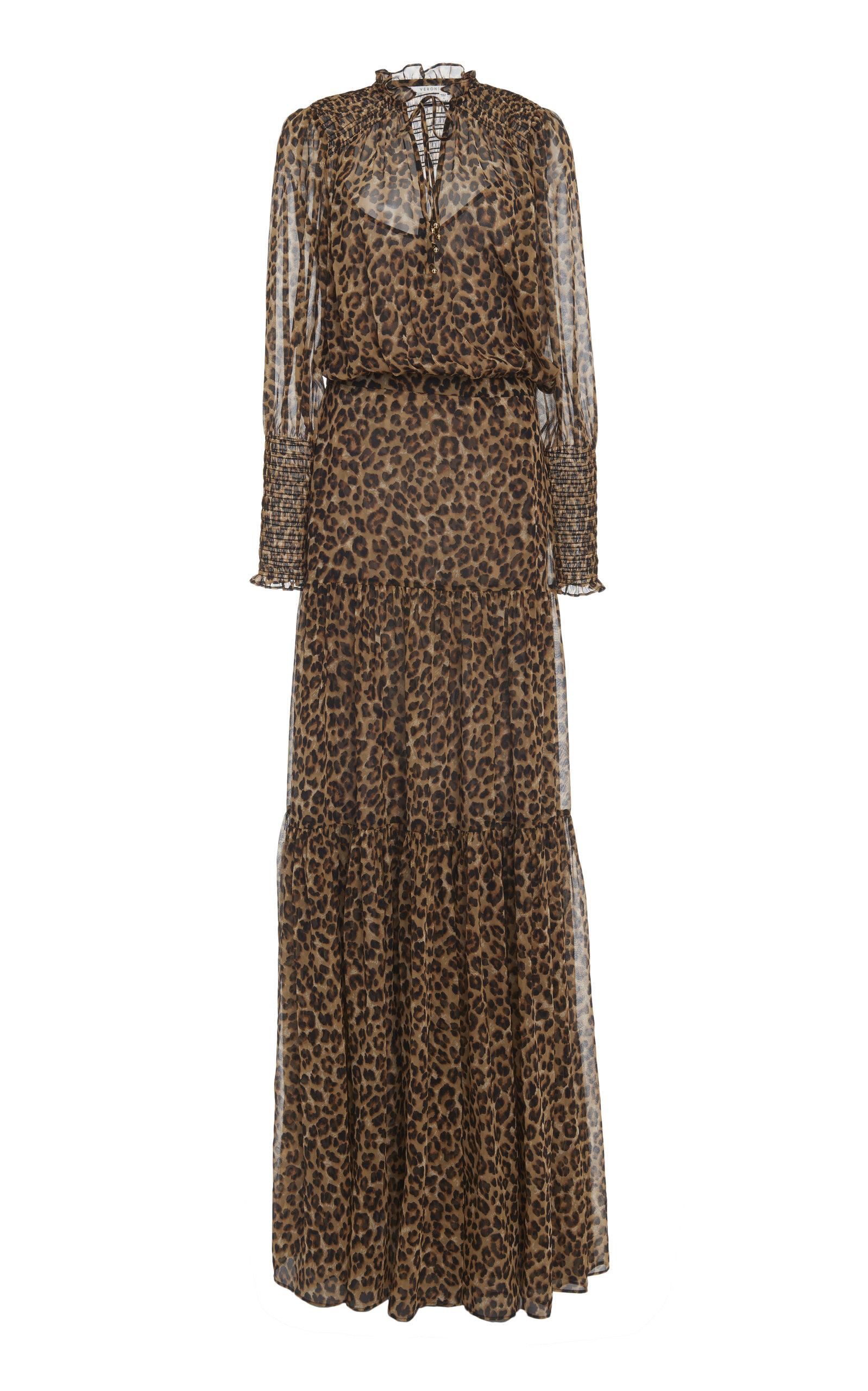 342b5372121d8b Stacia Tiered Leopard-Print Silk Maxi Dress by Veronica Beard