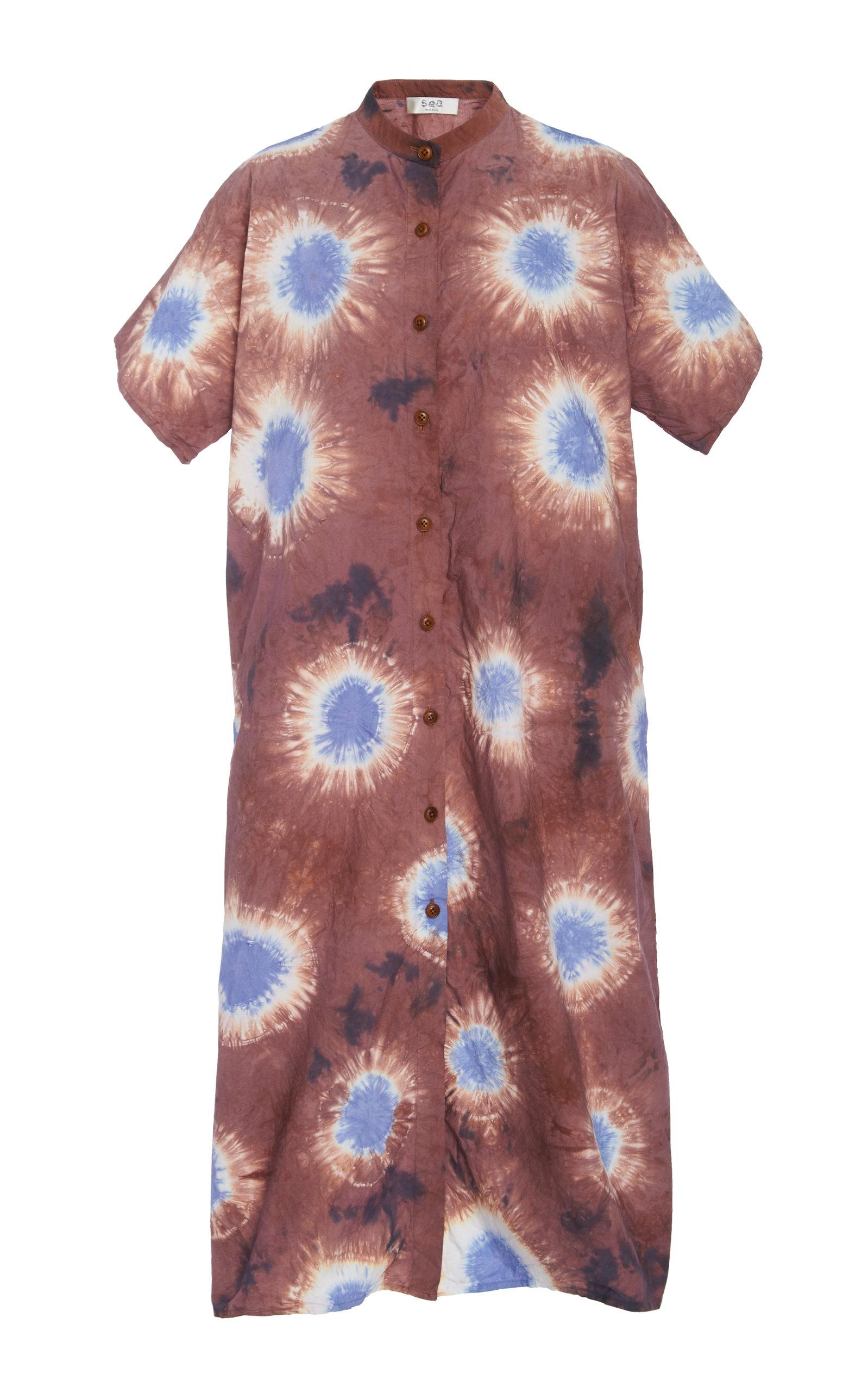 Sea Dresses TIE-DYE COTTON-JERSEY MIDI DRESS SIZE: 8