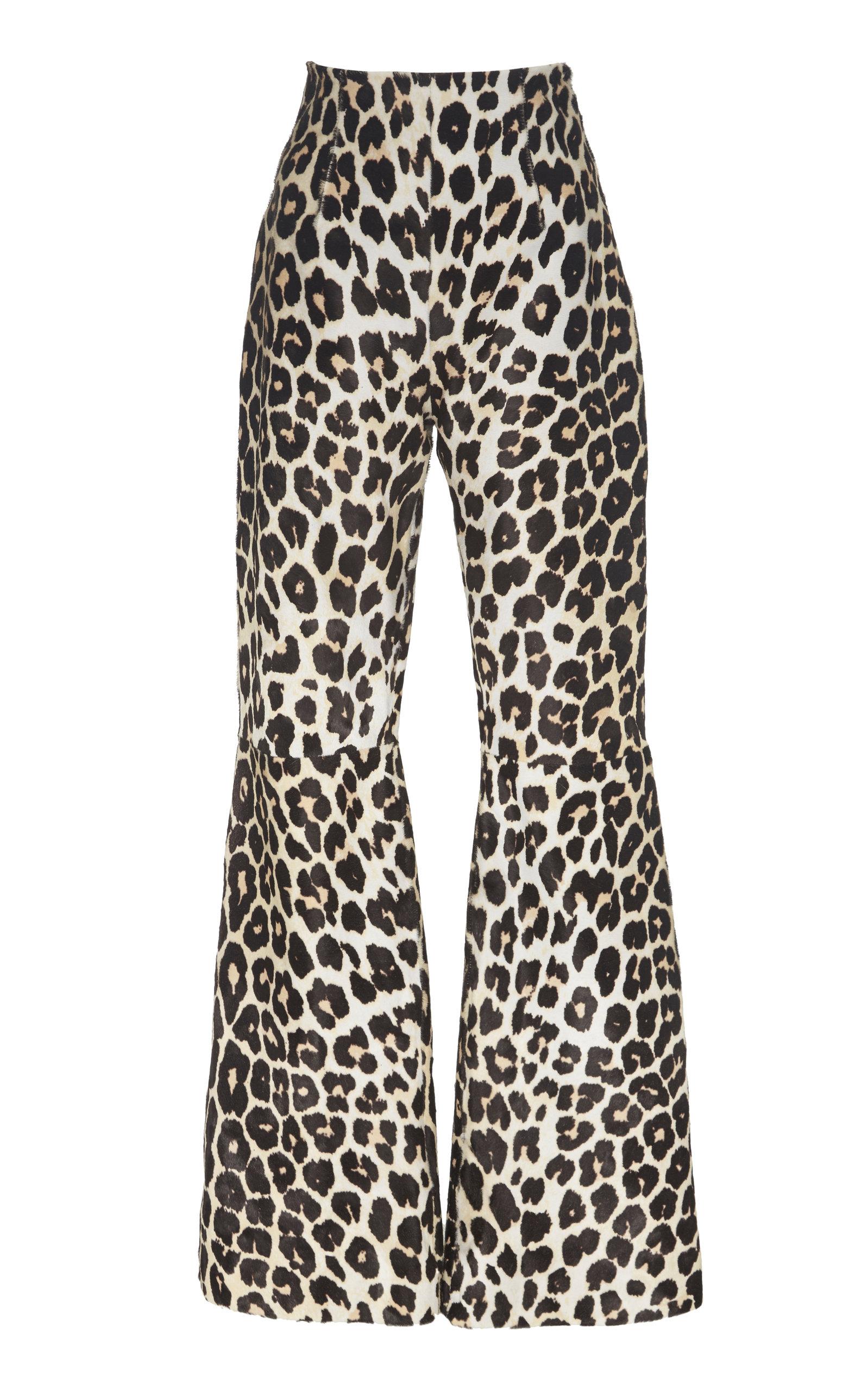 16arlington Pants NEWMAN LEOPARD-PRINT LEATHER WIDE-LEG PANTS