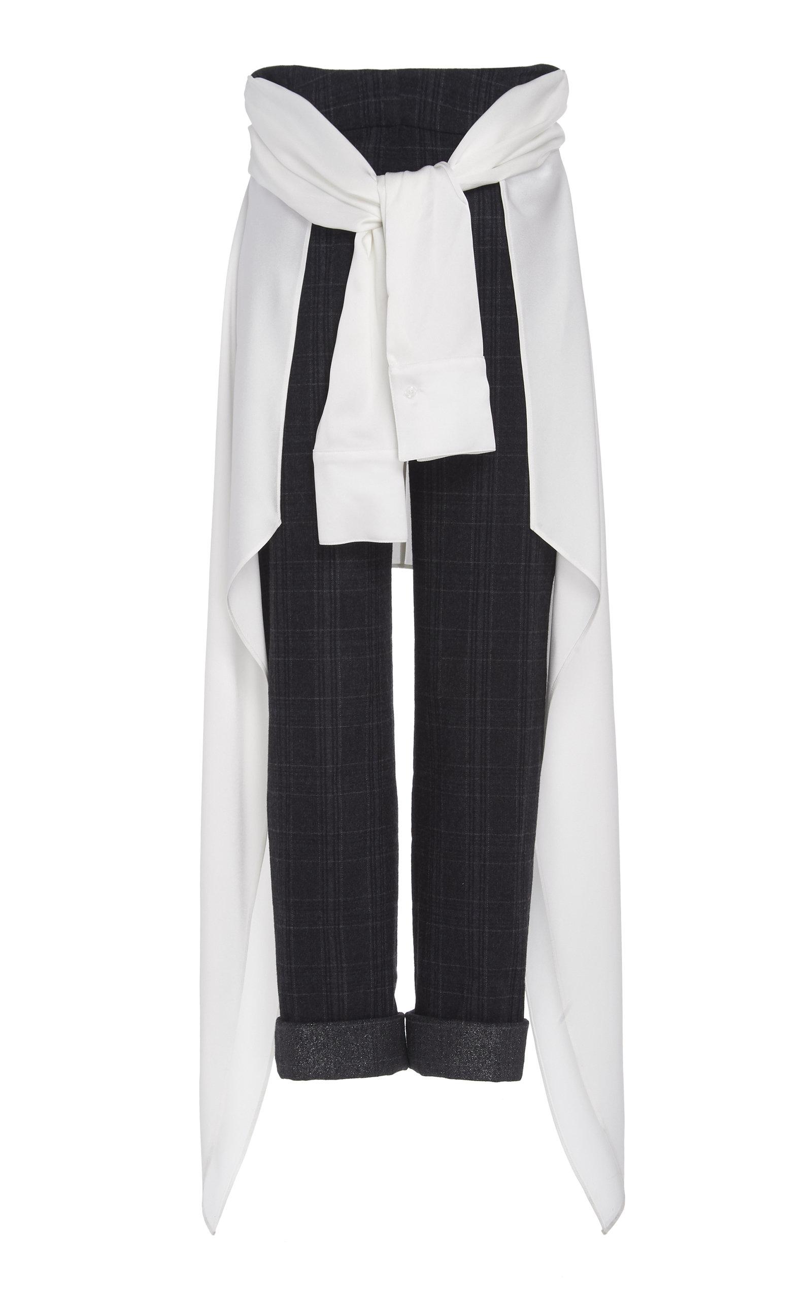 Hellessy Pants AVEDON TIE-DETAILED WOOL-BLEND STRAIGHT-LEG PANTS