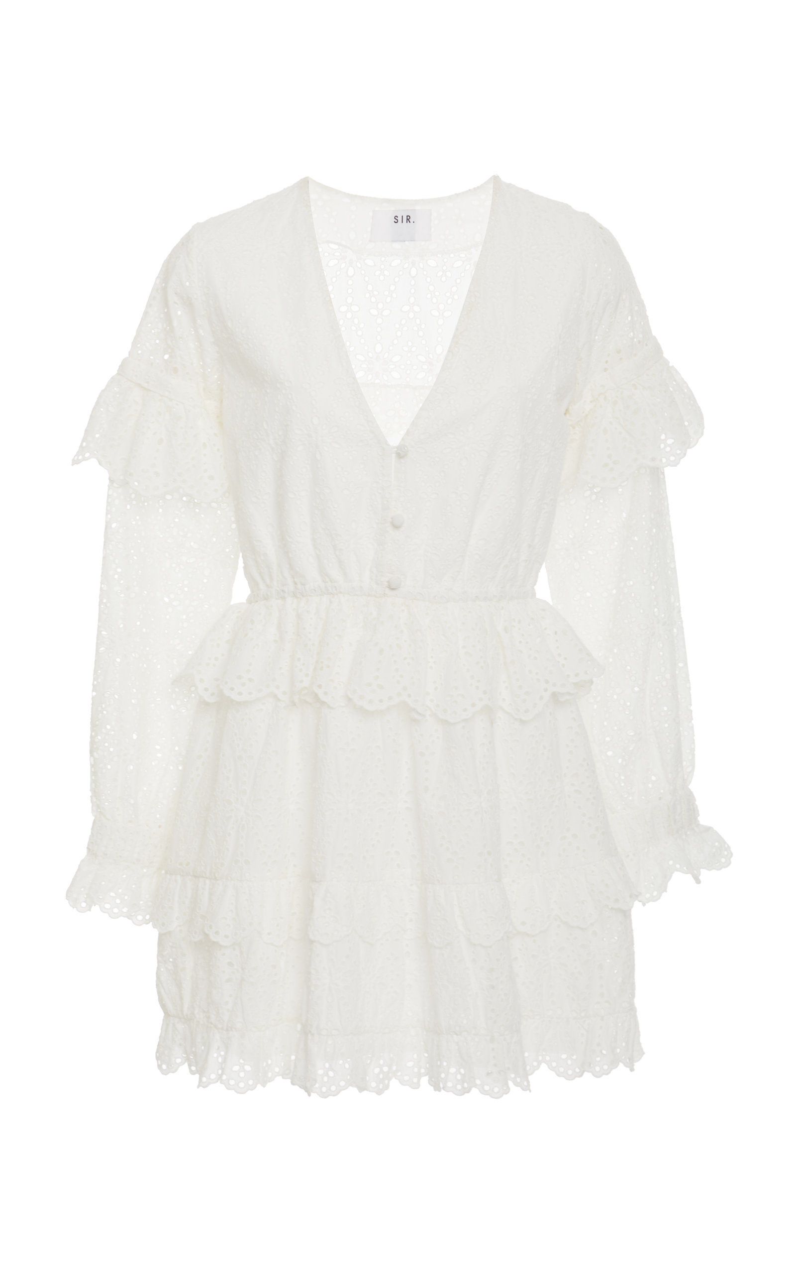 Amelie Ruffled Broderie Anglaise Mini Dress by Sir The Label