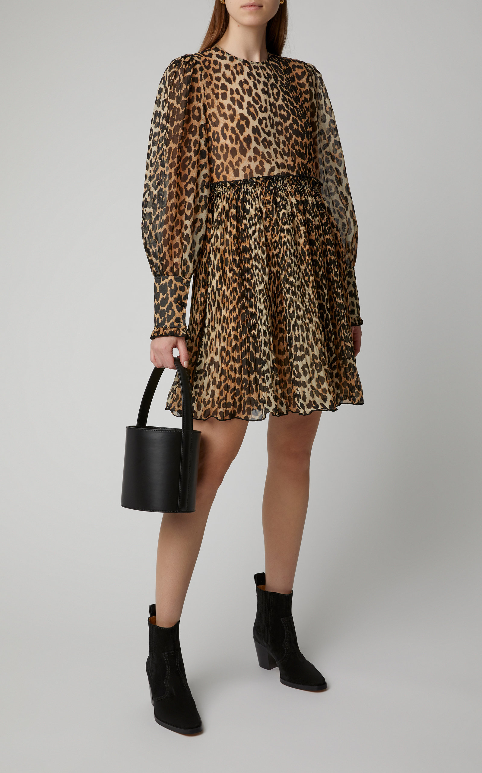 84b614cec095 Leopard-Print Georgette Mini Dress by Ganni | Moda Operandi