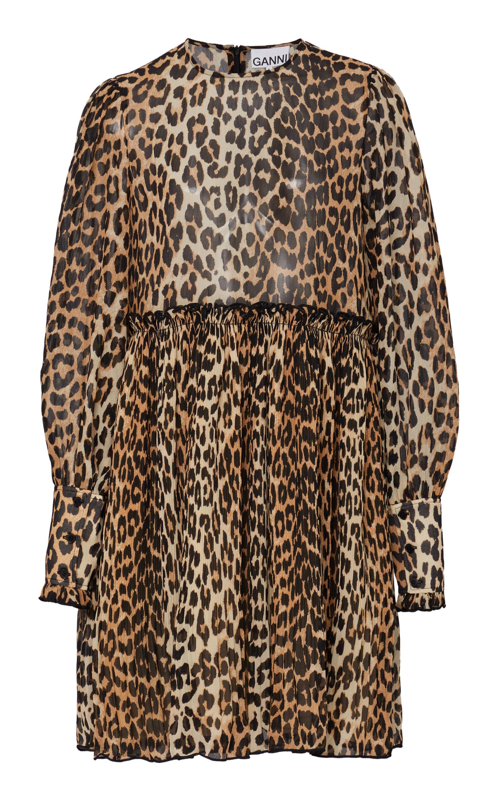 8c4771262bbe Leopard-Print Georgette Mini Dress by Ganni | Moda Operandi