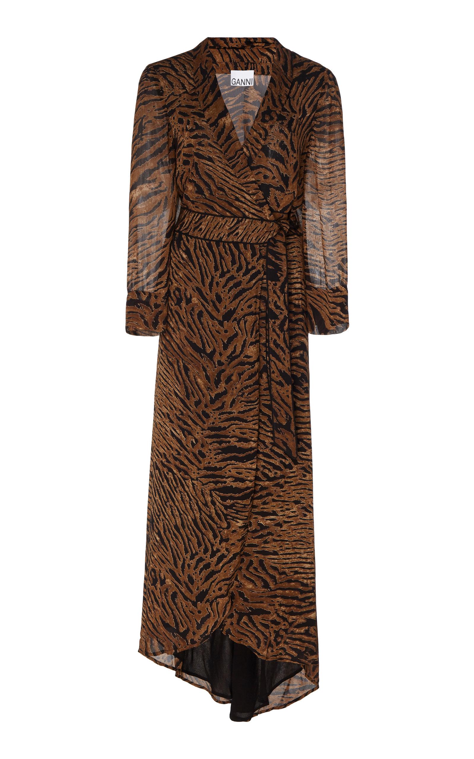 Ganni Dresses Animal-Print Georgette Wrap Dress