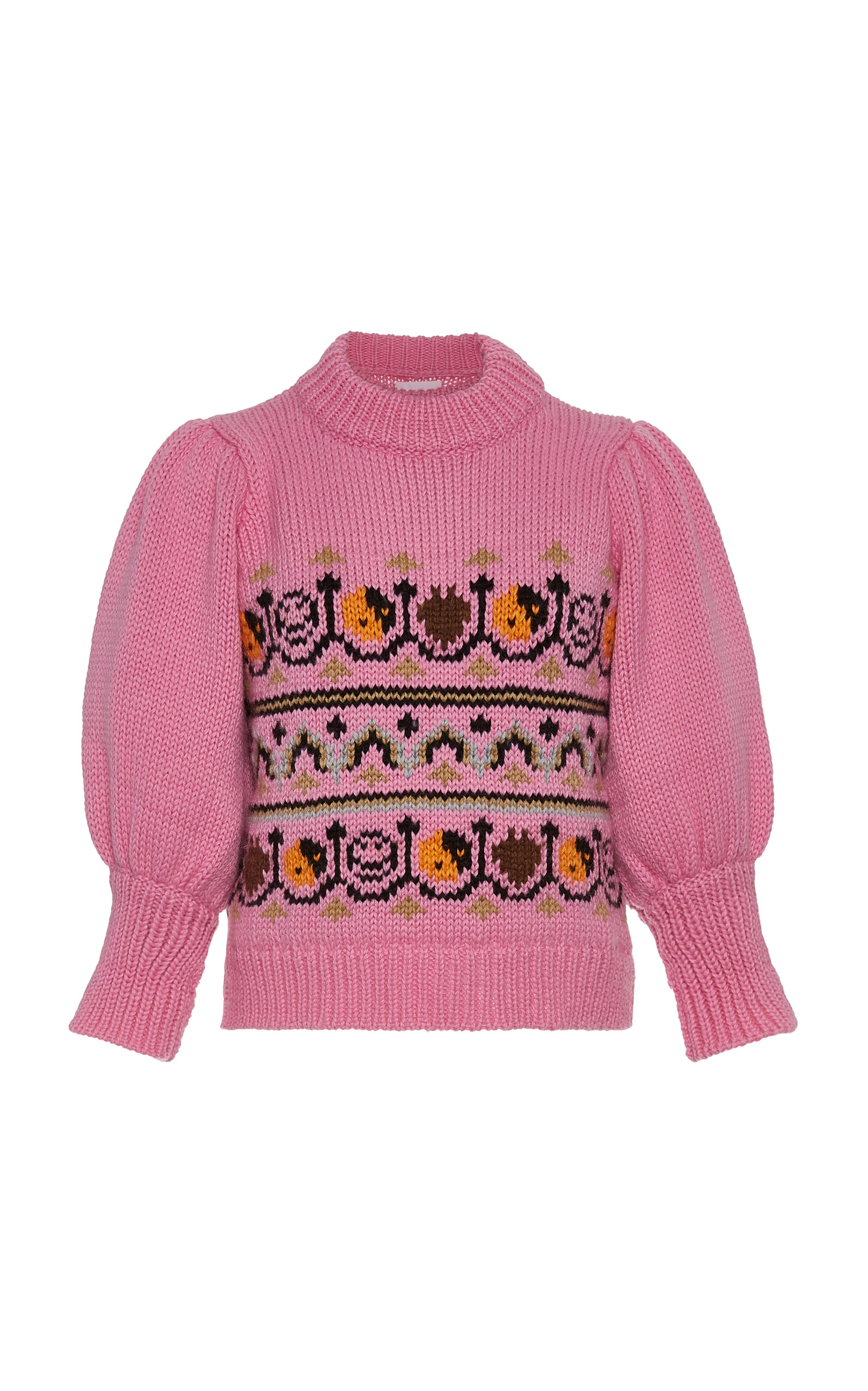 Ganni Knits Hand Knit Puff-Sleeve Wool Sweater