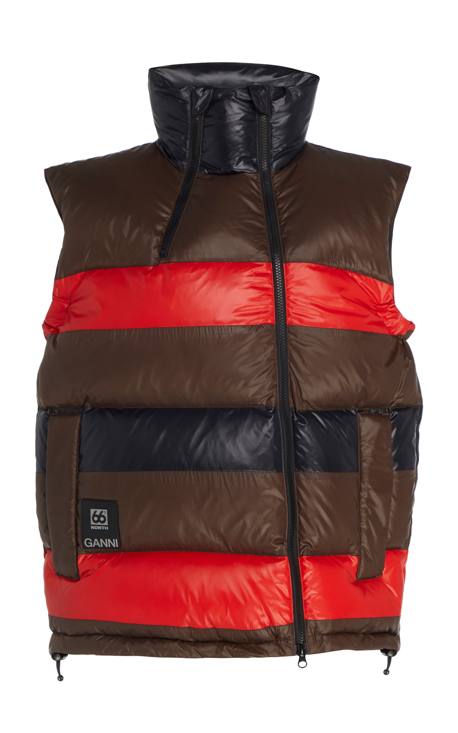 Ganni Jackets Askja Striped Shell Down Vest