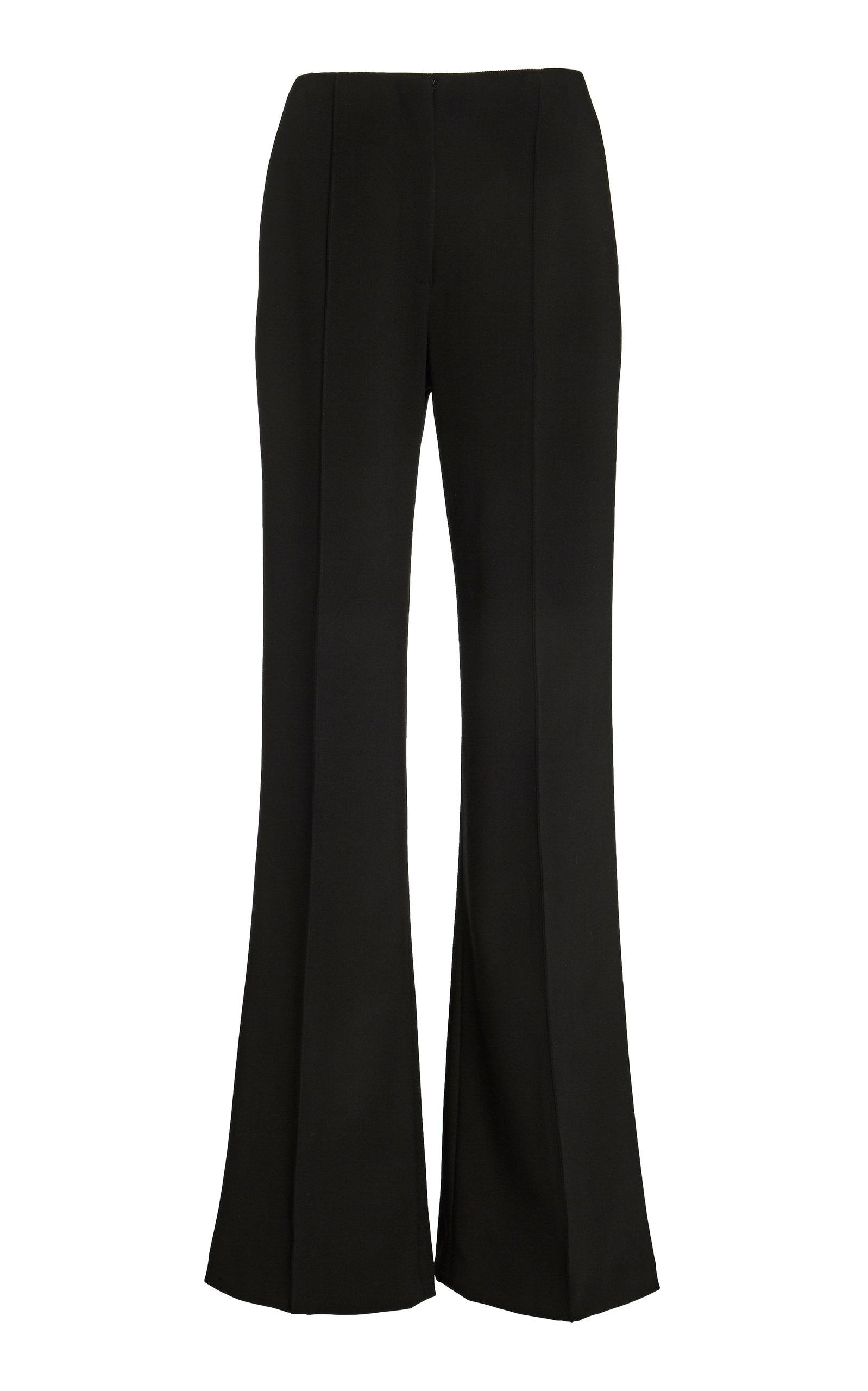 Carolina Herrera Silks HIGH-WAISTED SILK-CREPE FLARED PANTS SIZE: 8