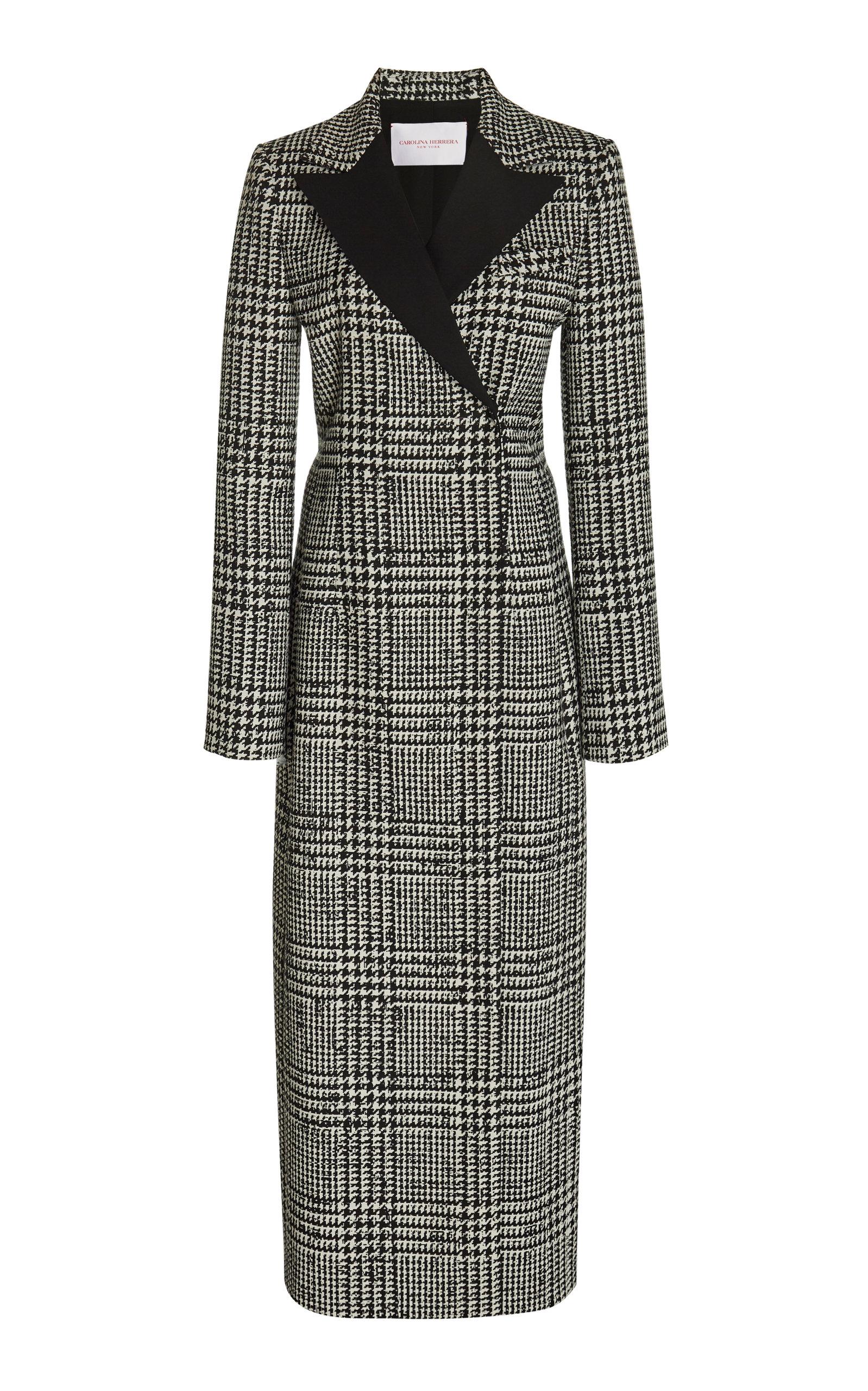 3253cd3279d1 Collared Prince Of Wales Checked Silk-Wool Coat by Carolina Herrera ...