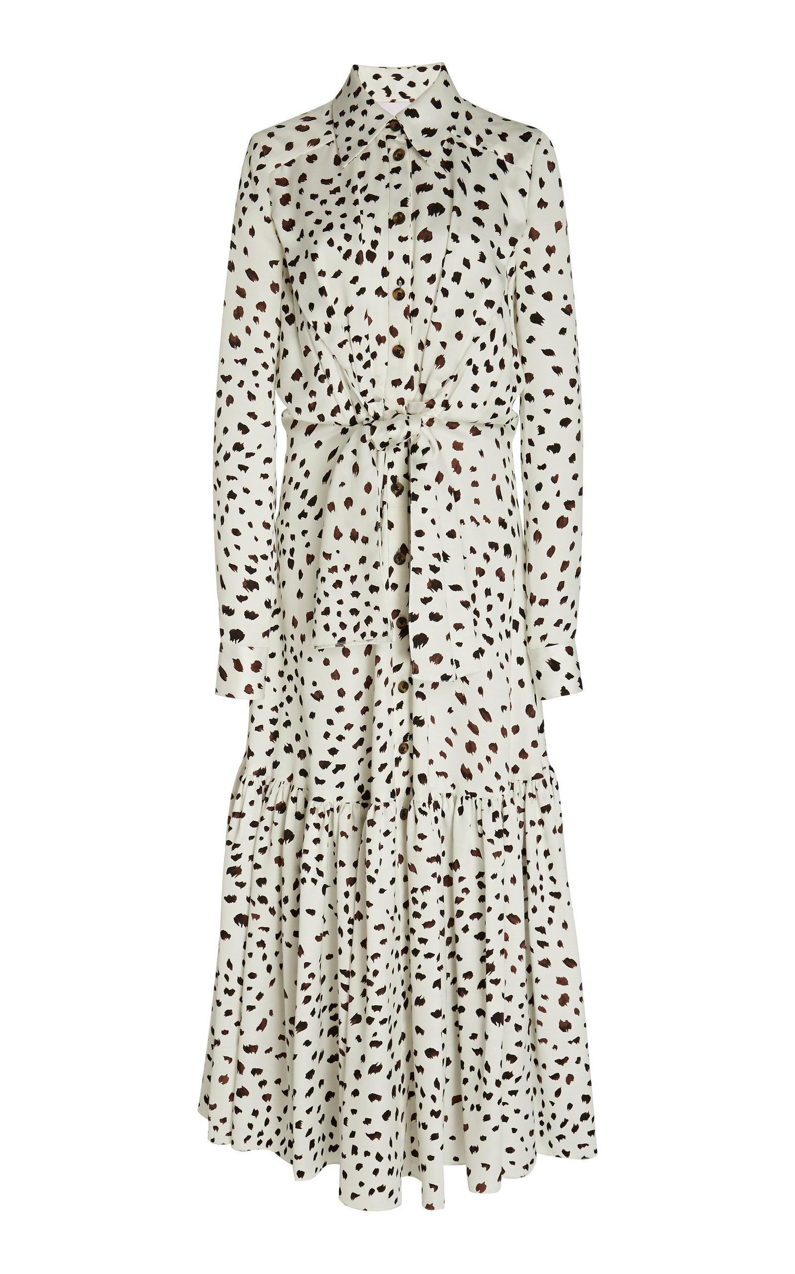 8a5756614e Carolina HerreraPrinted And Belted Satin Maxi Shirt Dress. CLOSE. Loading