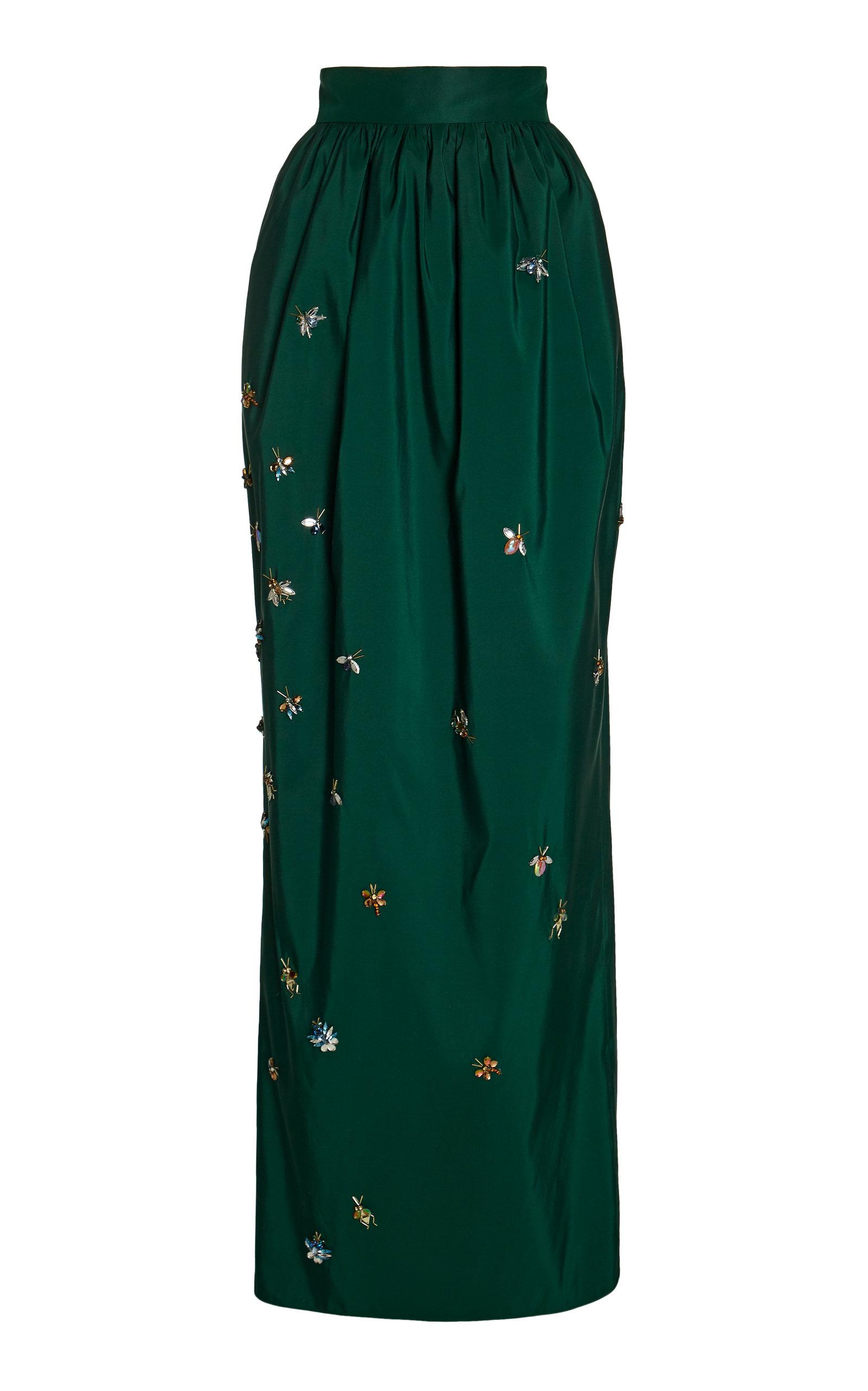 2de3303f91 Pleated Embellished Silk Maxi Skirt by Carolina Herrera | Moda Operandi